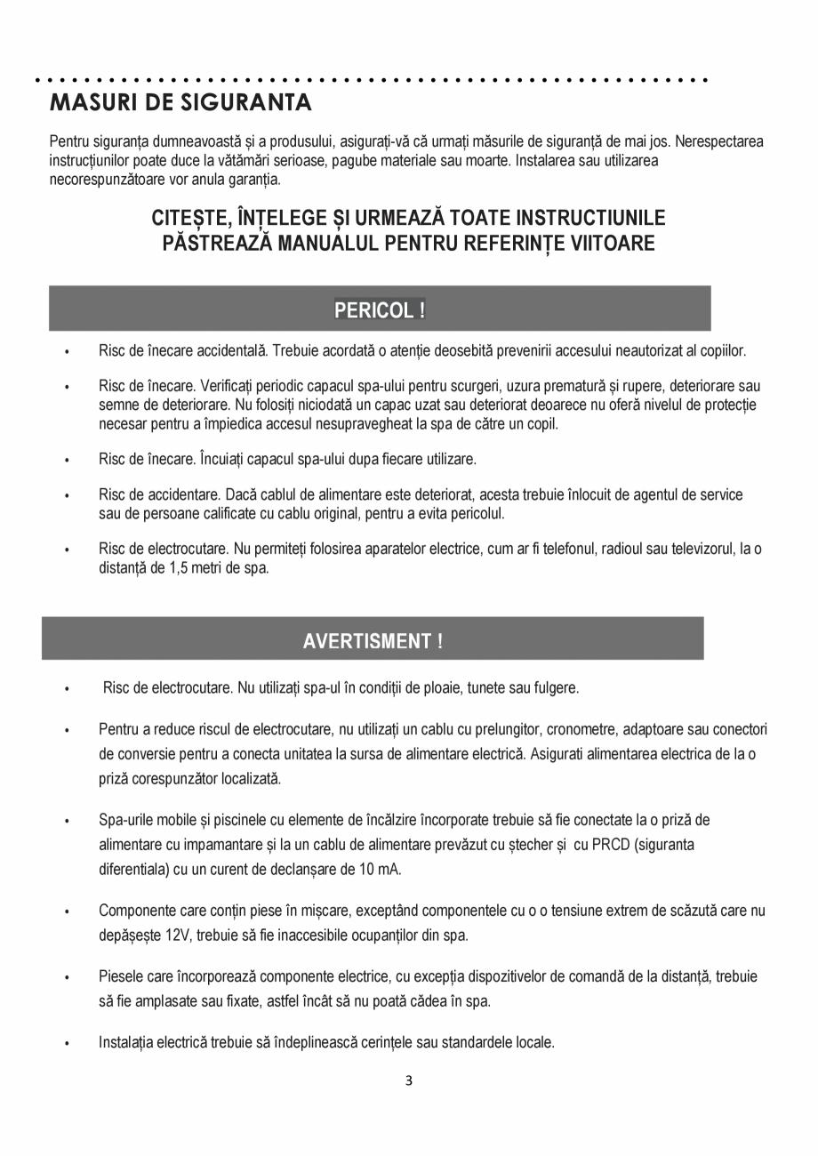 Pagina 3 - Manualul utilizatorului - Spa-uri gonflabile AQUA THERM CONCEPT MONO Instructiuni montaj,...