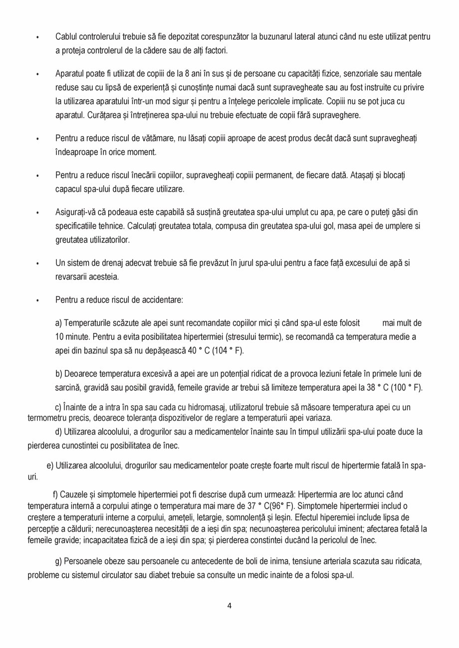 Pagina 4 - Manualul utilizatorului - Spa-uri gonflabile AQUA THERM CONCEPT MONO Instructiuni montaj,...