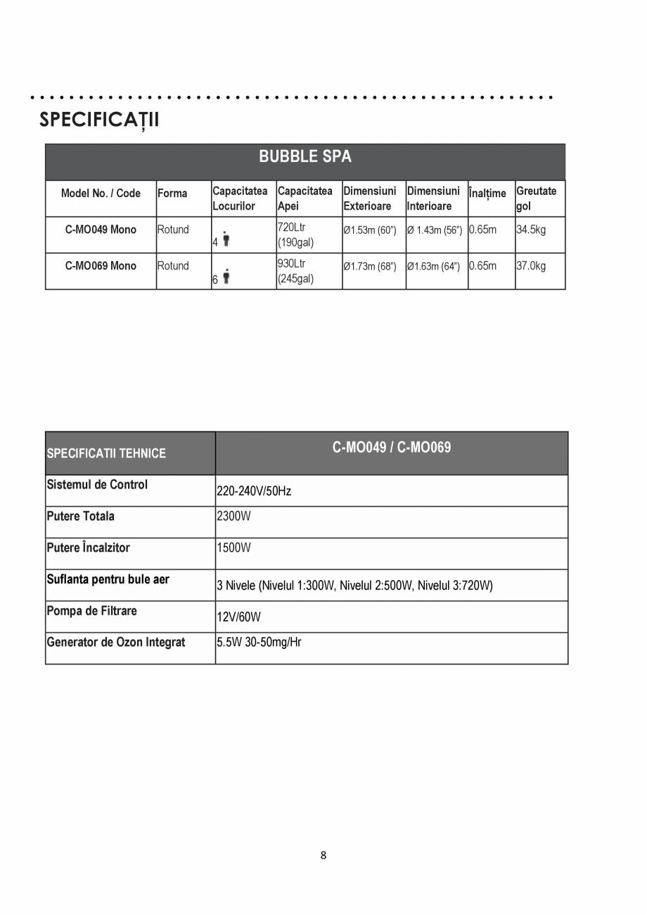 Pagina 8 - Manualul utilizatorului - Spa-uri gonflabile AQUA THERM CONCEPT MONO Instructiuni montaj,...