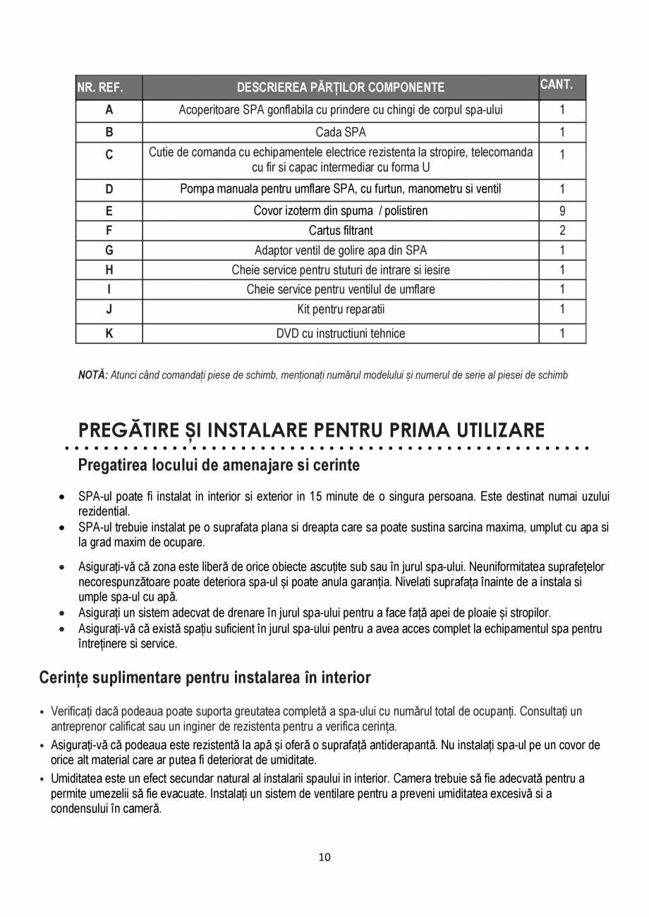 Pagina 10 - Manualul utilizatorului - Spa-uri gonflabile AQUA THERM CONCEPT MONO Instructiuni montaj...