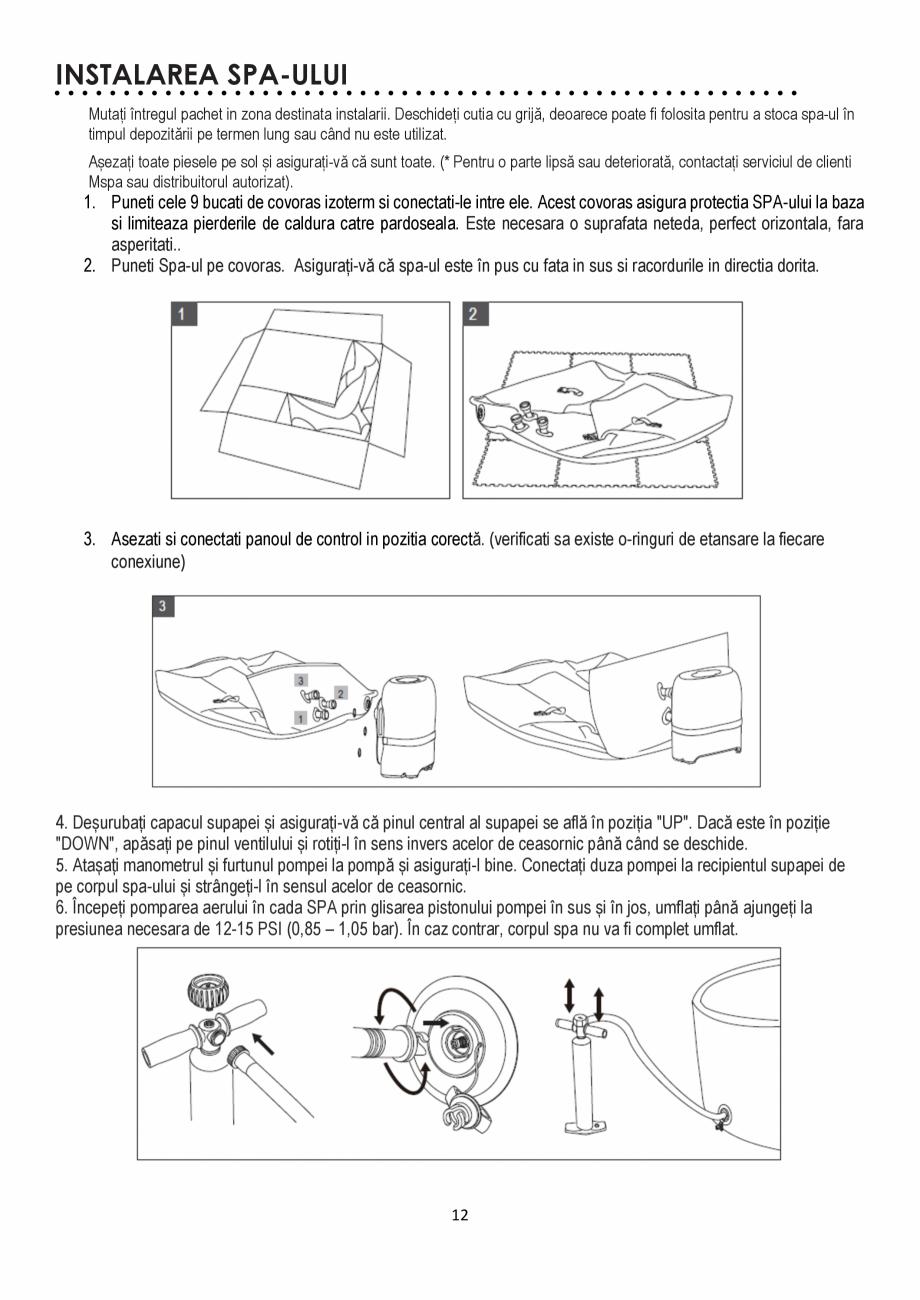 Pagina 12 - Manualul utilizatorului - Spa-uri gonflabile AQUA THERM CONCEPT MONO Instructiuni montaj...
