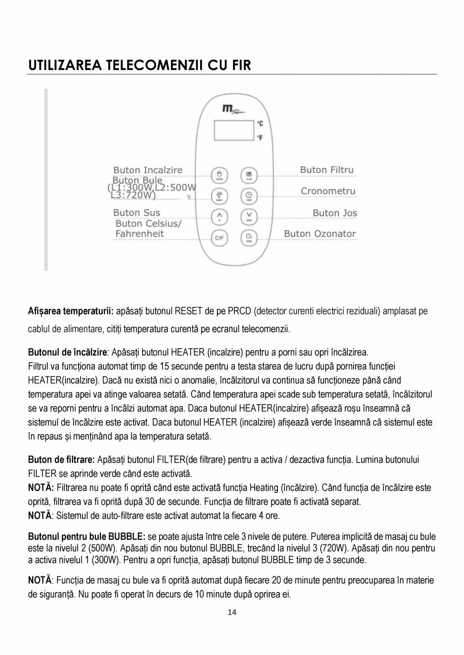 Pagina 14 - Manualul utilizatorului - Spa-uri gonflabile AQUA THERM CONCEPT MONO Instructiuni montaj...