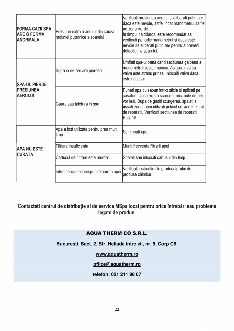 Pagina 22 - Manualul utilizatorului - Spa-uri gonflabile AQUA THERM CONCEPT MONO Instructiuni montaj...