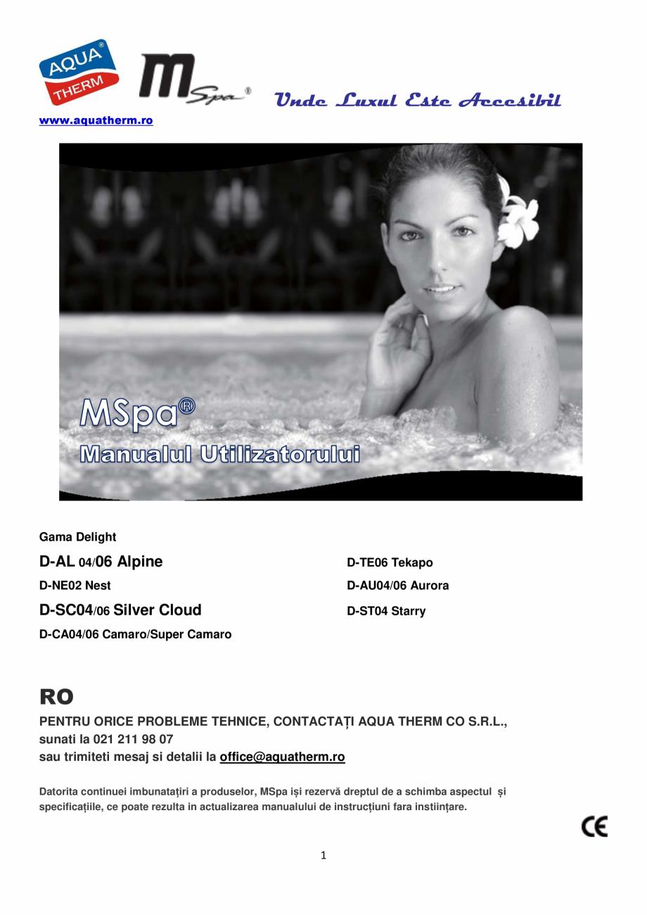 Pagina 1 - Manualul utilizatorului - Spa-uri gonflabile AQUA THERM ALPINE SQUARE D-AL06, SILVER...