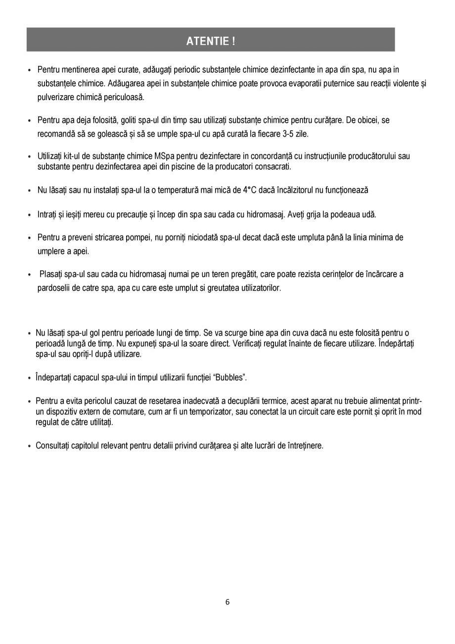Pagina 6 - Manualul utilizatorului - Spa-uri gonflabile AQUA THERM ALPINE SQUARE D-AL06, SILVER...