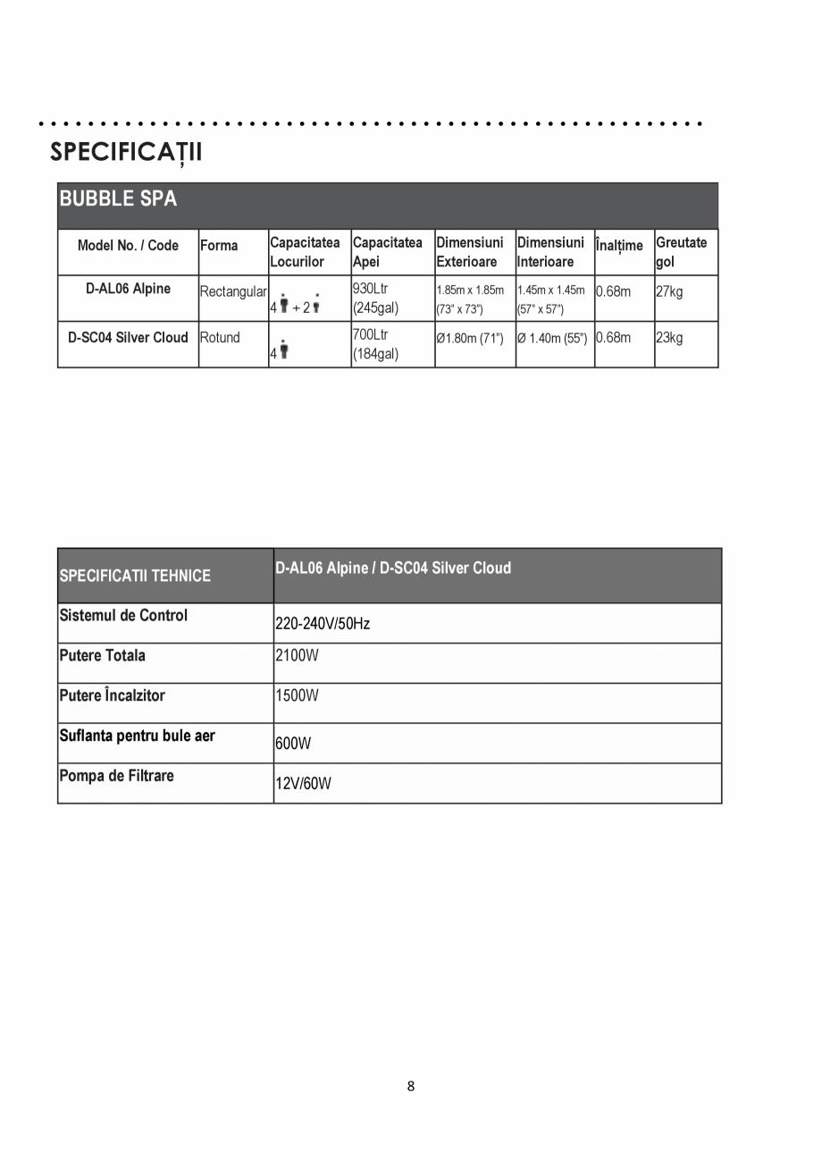 Pagina 8 - Manualul utilizatorului - Spa-uri gonflabile AQUA THERM ALPINE SQUARE D-AL06, SILVER...