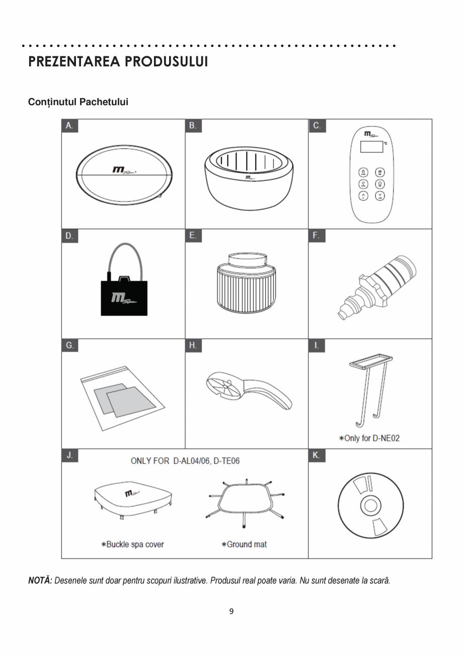Pagina 9 - Manualul utilizatorului - Spa-uri gonflabile AQUA THERM ALPINE SQUARE D-AL06, SILVER...