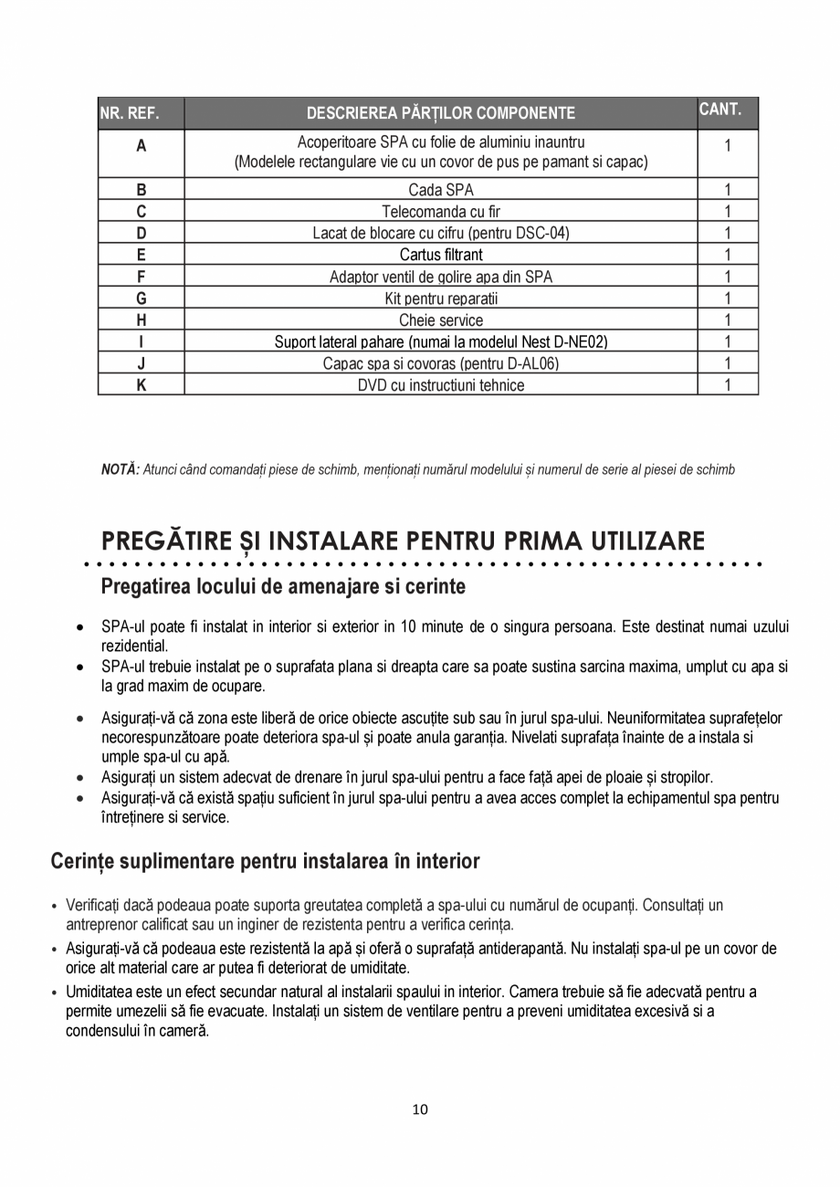 Pagina 10 - Manualul utilizatorului - Spa-uri gonflabile AQUA THERM ALPINE SQUARE D-AL06, SILVER...