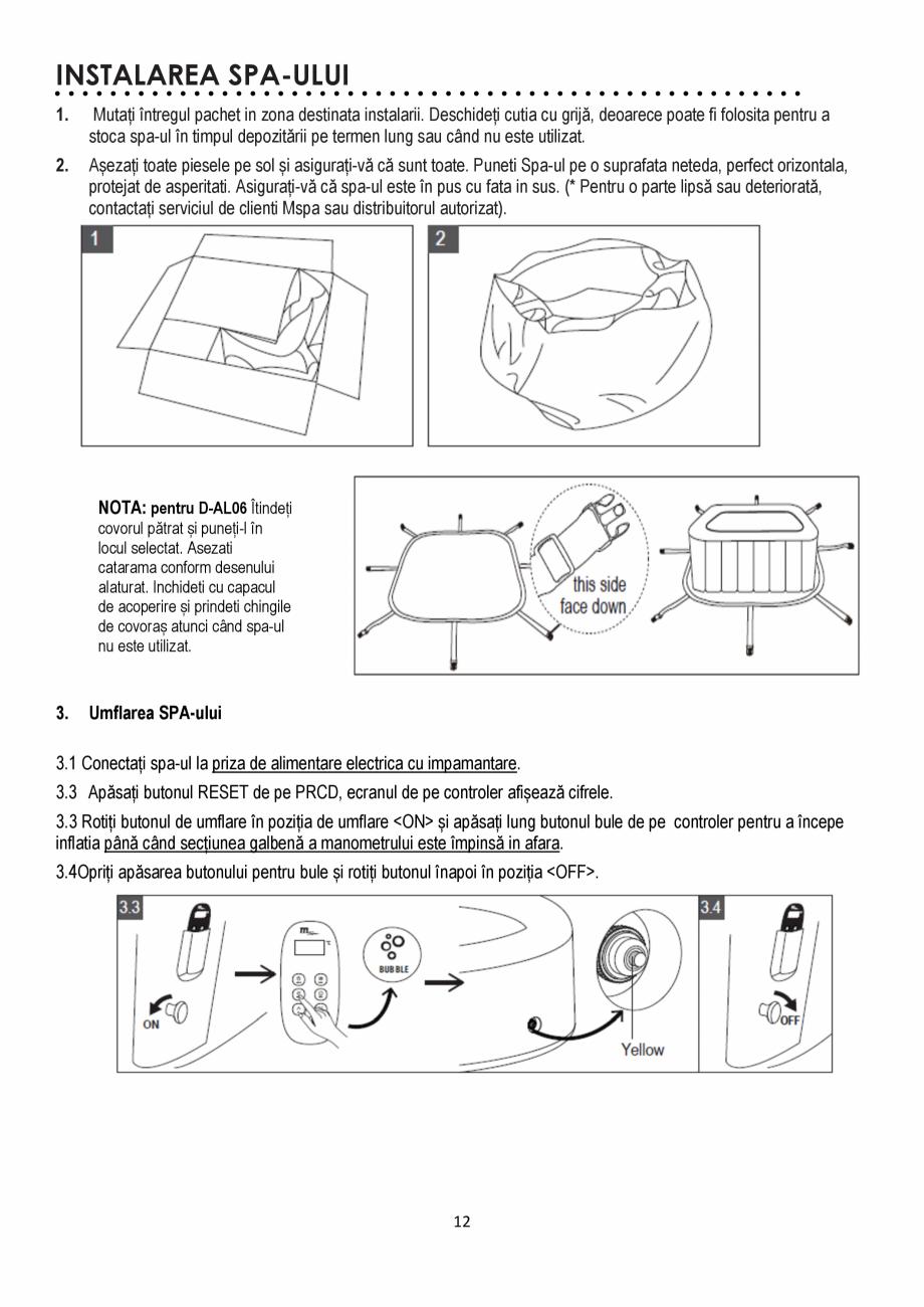 Pagina 12 - Manualul utilizatorului - Spa-uri gonflabile AQUA THERM ALPINE SQUARE D-AL06, SILVER...