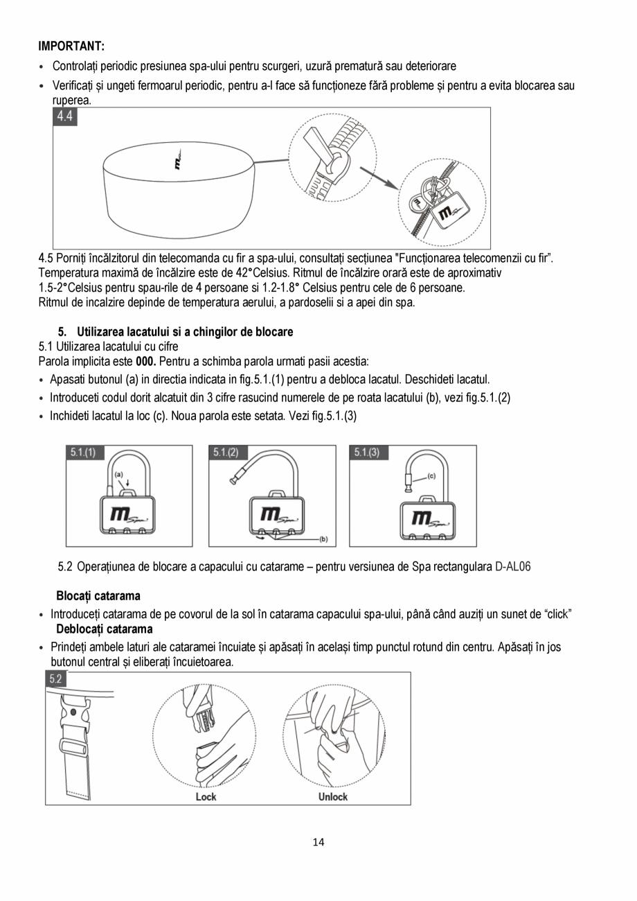 Pagina 14 - Manualul utilizatorului - Spa-uri gonflabile AQUA THERM ALPINE SQUARE D-AL06, SILVER...