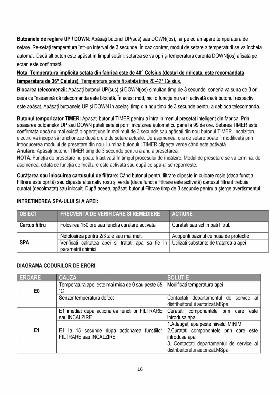 Pagina 16 - Manualul utilizatorului - Spa-uri gonflabile AQUA THERM ALPINE SQUARE D-AL06, SILVER...