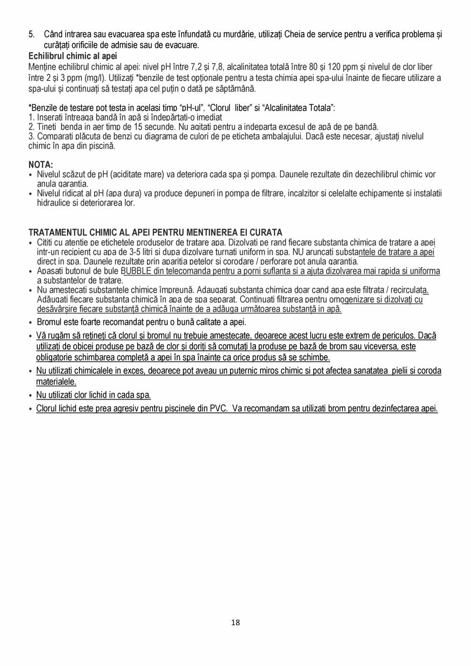 Pagina 18 - Manualul utilizatorului - Spa-uri gonflabile AQUA THERM ALPINE SQUARE D-AL06, SILVER...