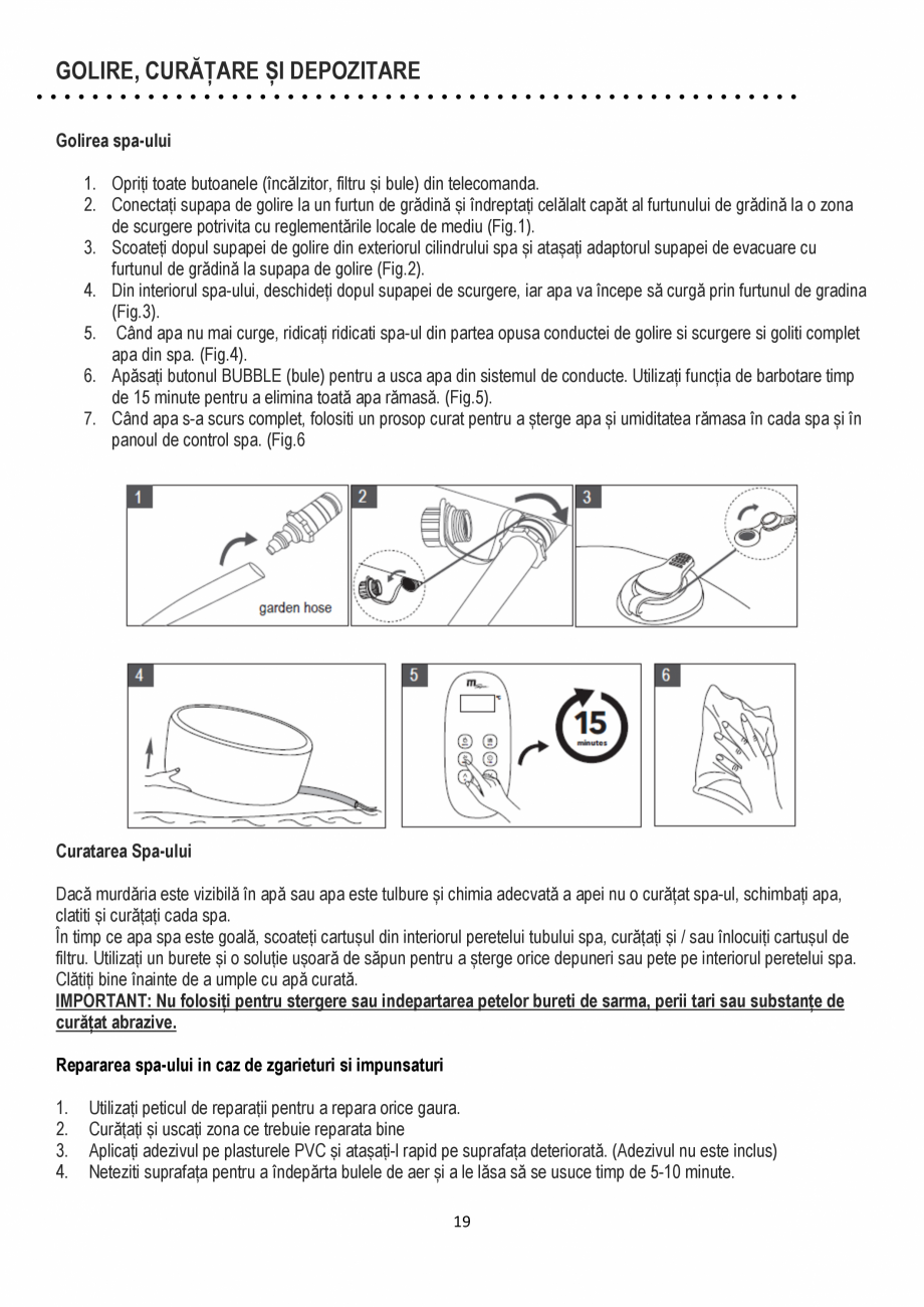 Pagina 19 - Manualul utilizatorului - Spa-uri gonflabile AQUA THERM ALPINE SQUARE D-AL06, SILVER...