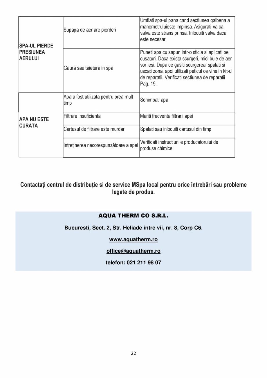 Pagina 22 - Manualul utilizatorului - Spa-uri gonflabile AQUA THERM ALPINE SQUARE D-AL06, SILVER...