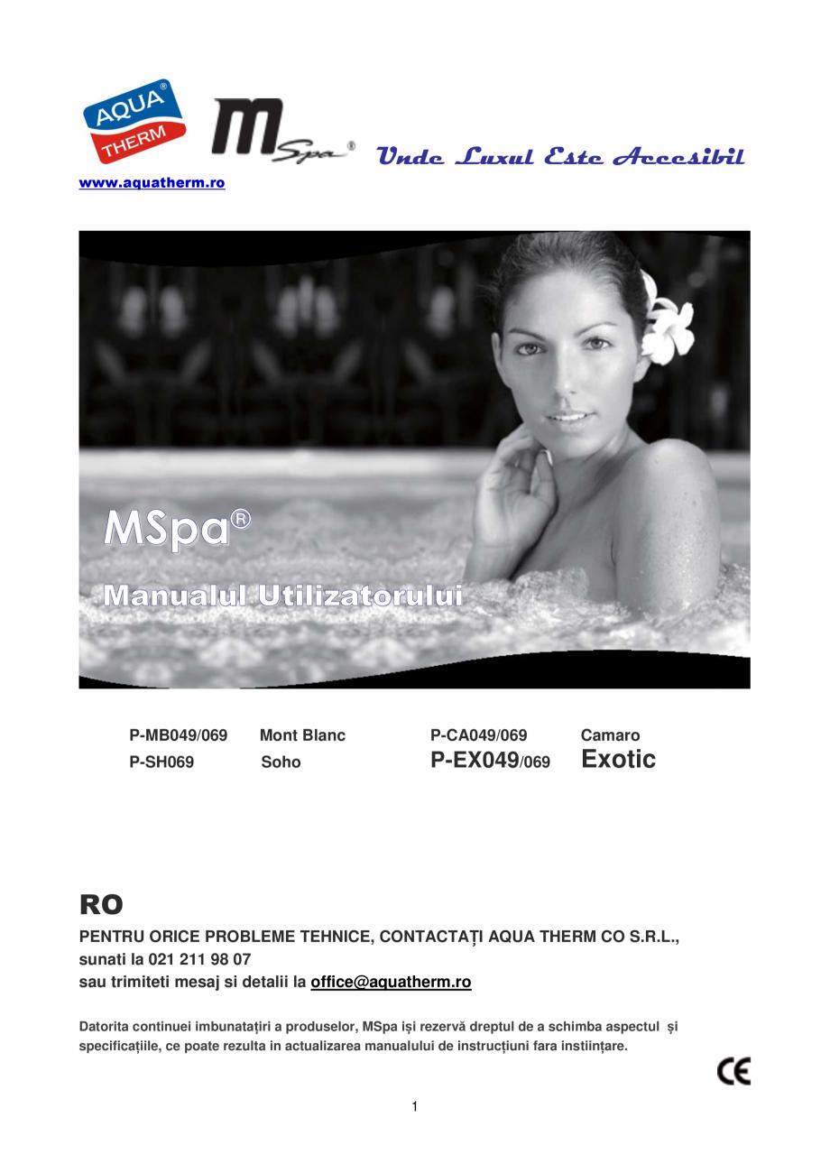 Pagina 1 - Manualul utilizatorului - Spa-uri gonflabile AQUA THERM PREMIUM EXOTIC P-EX049...