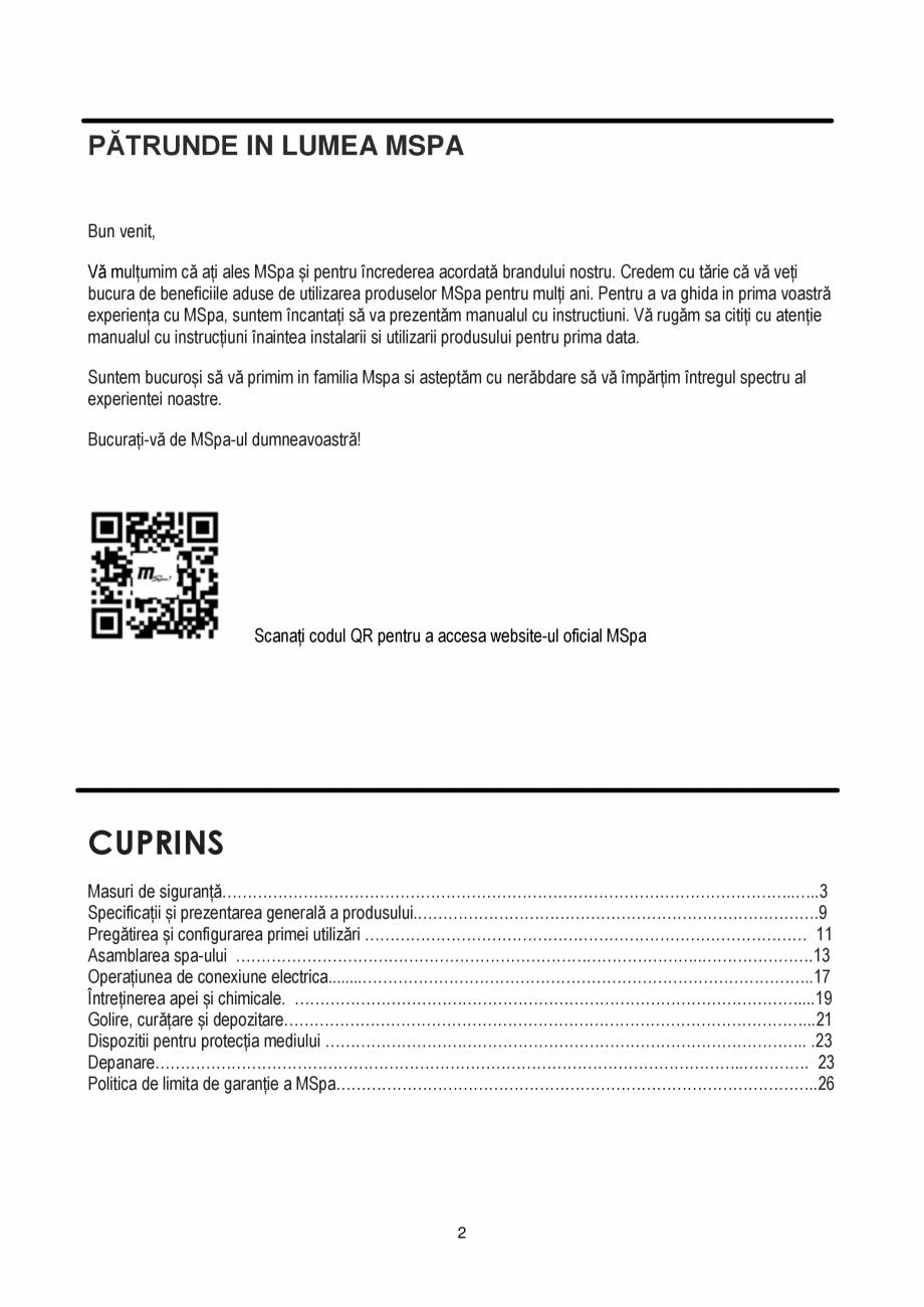Pagina 2 - Manualul utilizatorului - Spa-uri gonflabile AQUA THERM PREMIUM EXOTIC P-EX049...