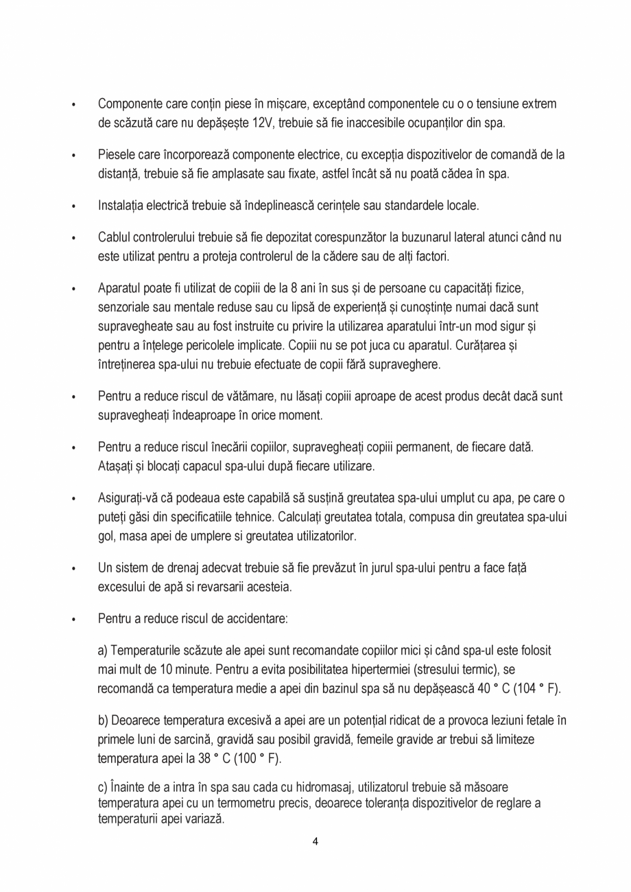 Pagina 4 - Manualul utilizatorului - Spa-uri gonflabile AQUA THERM PREMIUM EXOTIC P-EX049...