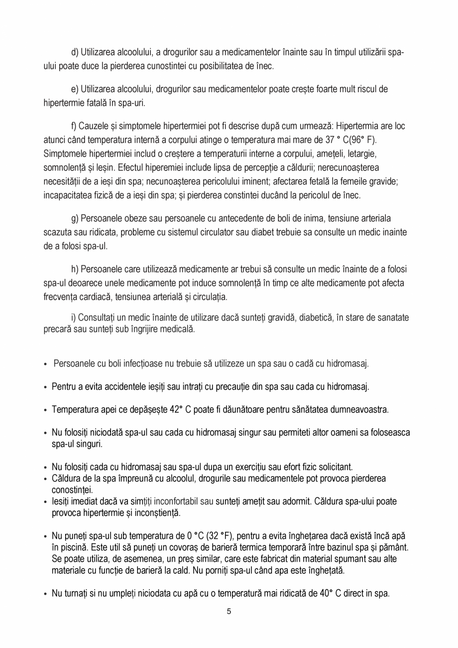 Pagina 5 - Manualul utilizatorului - Spa-uri gonflabile AQUA THERM PREMIUM EXOTIC P-EX049...
