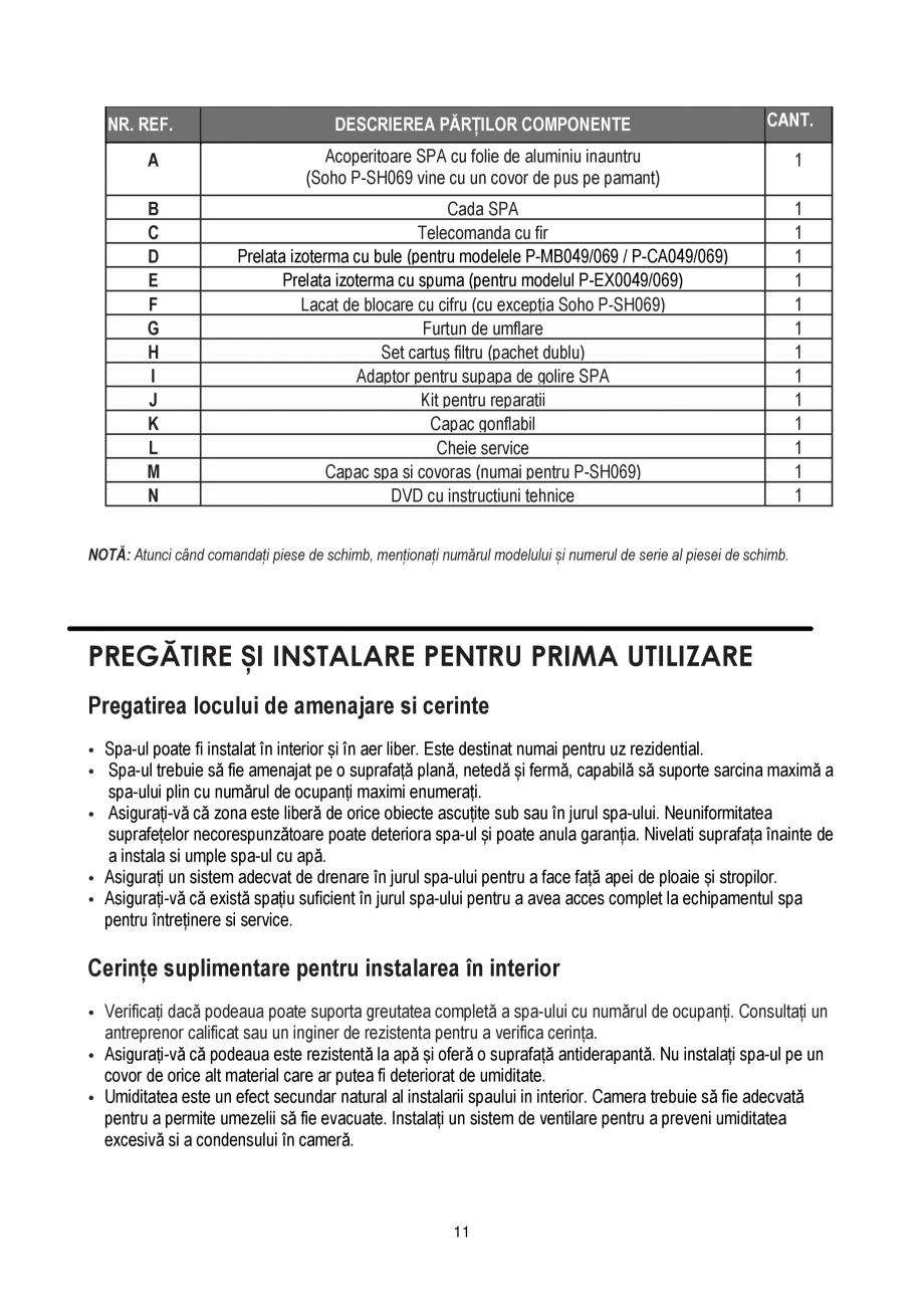 Pagina 11 - Manualul utilizatorului - Spa-uri gonflabile AQUA THERM PREMIUM EXOTIC P-EX049...