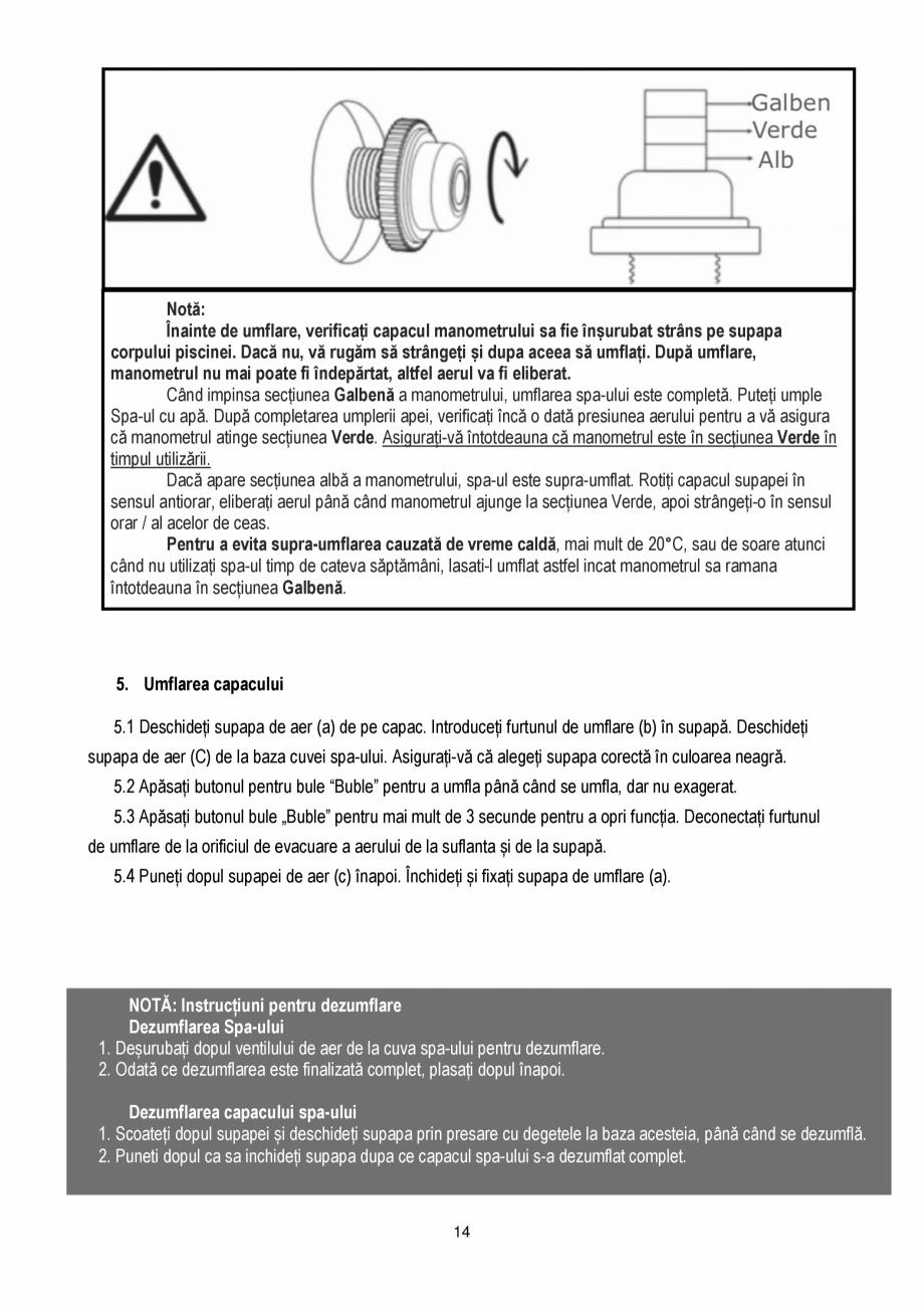 Pagina 14 - Manualul utilizatorului - Spa-uri gonflabile AQUA THERM PREMIUM EXOTIC P-EX049...