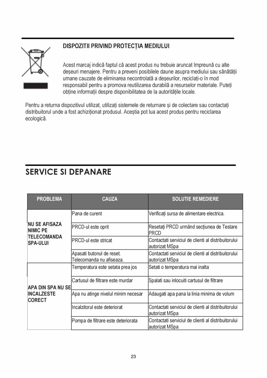Pagina 23 - Manualul utilizatorului - Spa-uri gonflabile AQUA THERM PREMIUM EXOTIC P-EX049...