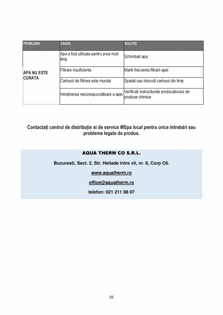 Pagina 25 - Manualul utilizatorului - Spa-uri gonflabile AQUA THERM PREMIUM EXOTIC P-EX049...