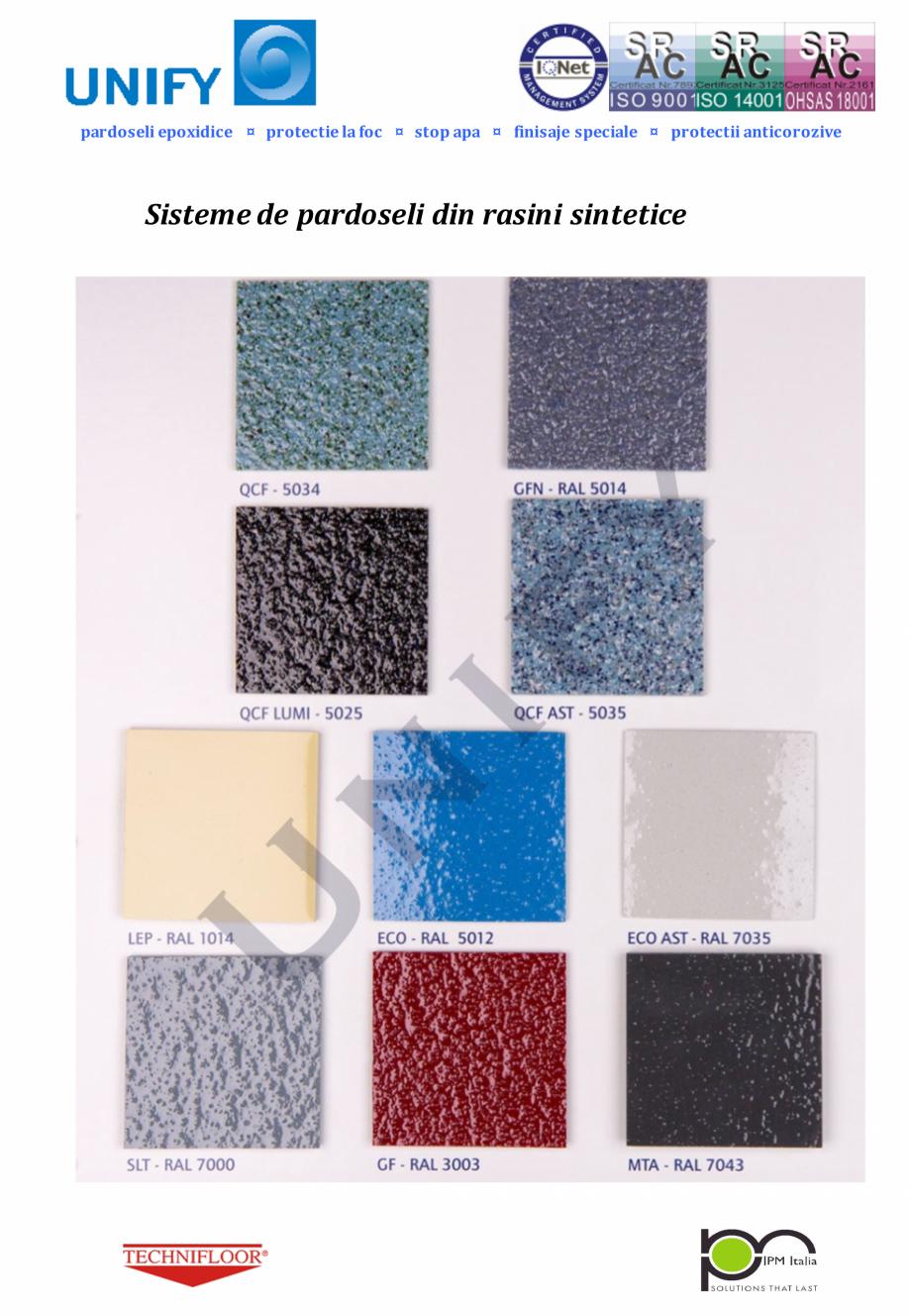 Pagina 1 - Paletar pentru sisteme de pardoseli din rasini sintetice UNIFY Fisa tehnica Romana...
