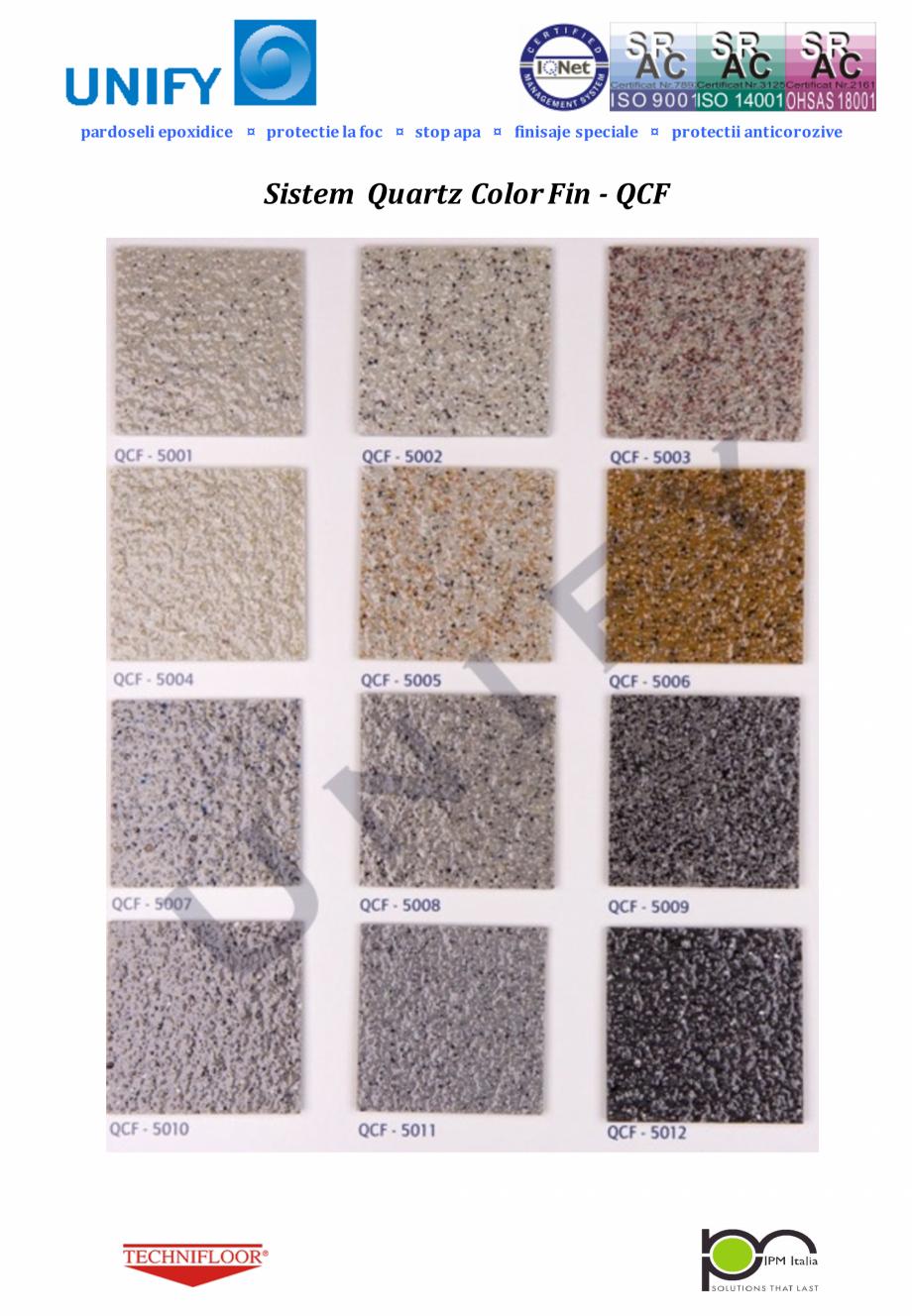 Pagina 2 - Paletar pentru sisteme de pardoseli din rasini sintetice UNIFY Fisa tehnica Romana ozive ...
