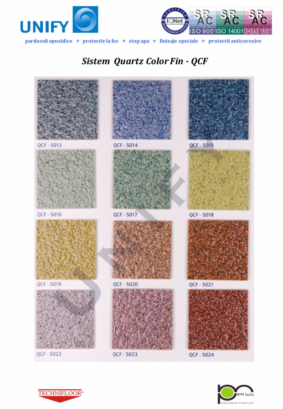 Pagina 3 - Paletar pentru sisteme de pardoseli din rasini sintetice UNIFY Fisa tehnica Romana