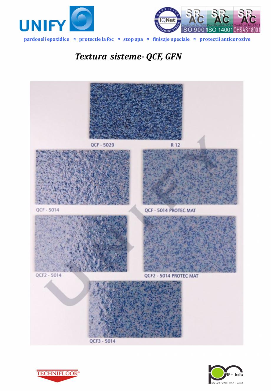 Pagina 5 - Paletar pentru sisteme de pardoseli din rasini sintetice UNIFY Fisa tehnica Romana