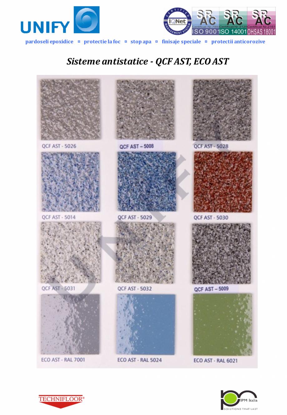 Pagina 6 - Paletar pentru sisteme de pardoseli din rasini sintetice UNIFY Fisa tehnica Romana