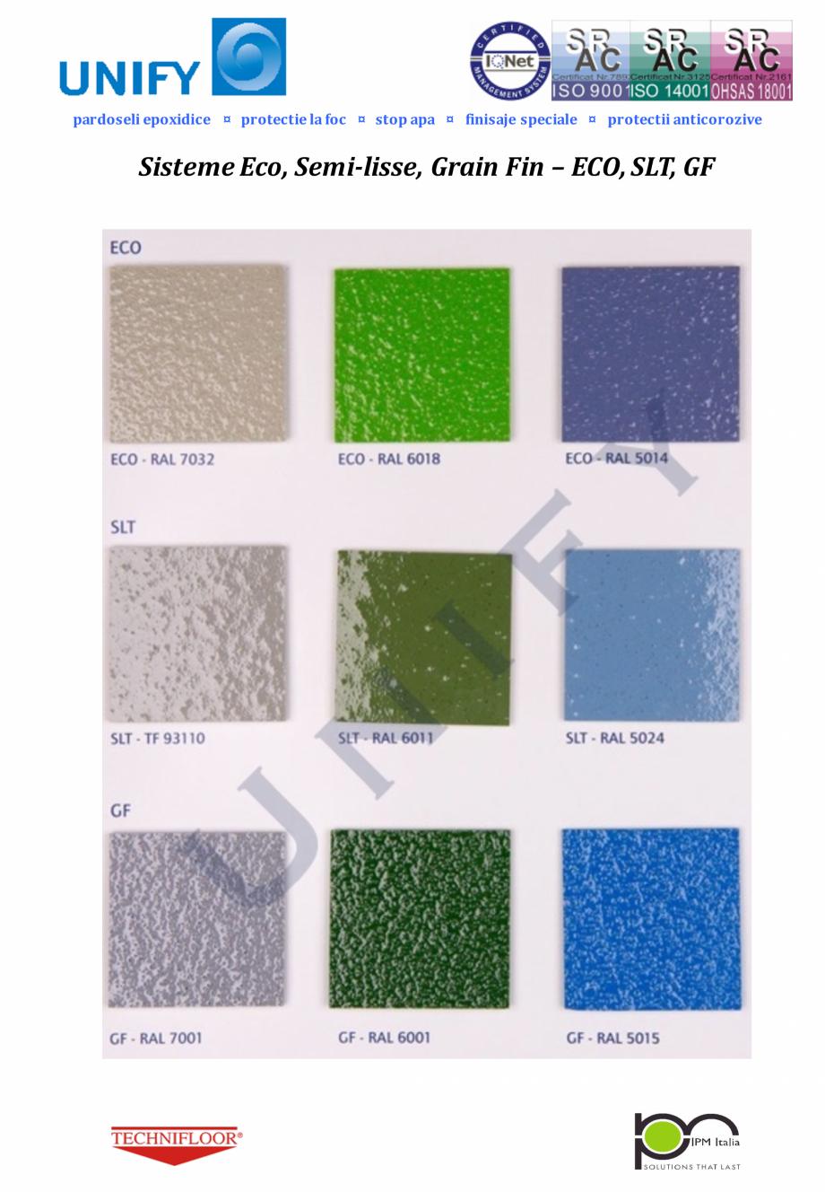 Pagina 7 - Paletar pentru sisteme de pardoseli din rasini sintetice UNIFY Fisa tehnica Romana