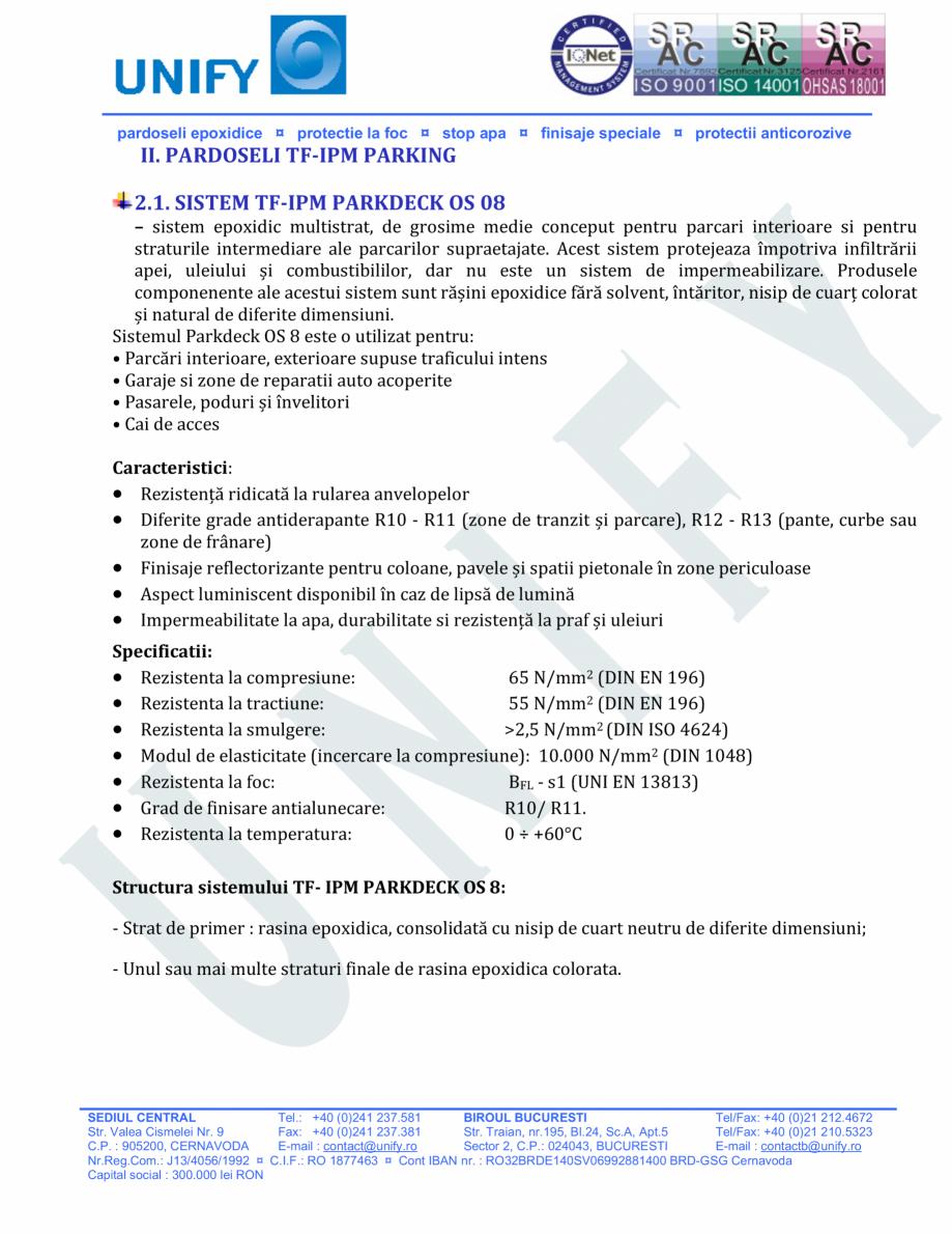 Pagina 7 - Pardoseli structurate pe baza de rasini sintetice UNIFY Fisa tehnica Romana alea Cismelei...
