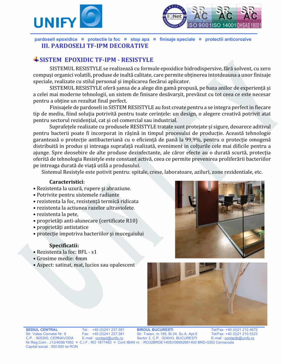 Pagina 10 - Pardoseli structurate pe baza de rasini sintetice UNIFY Fisa tehnica Romana astratului...