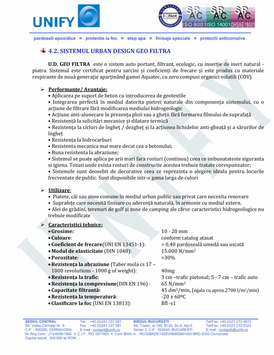Pagina 14 - Pardoseli structurate pe baza de rasini sintetice UNIFY Fisa tehnica Romana •...