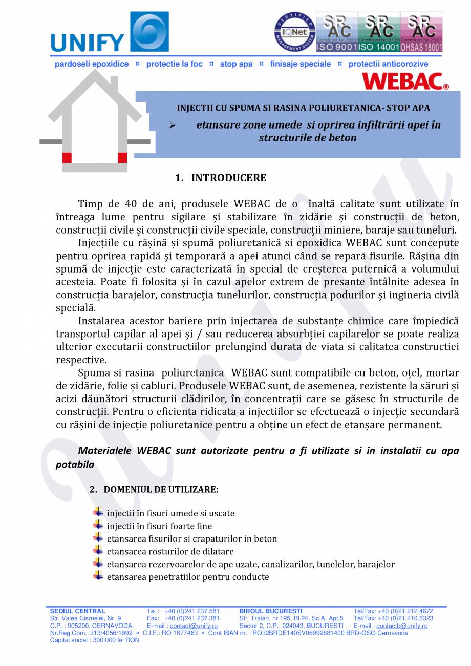 Pagina 1 - Injectii cu spuma si rasina poliuretanica WEBAC Catalog, brosura Romana pardoseli...