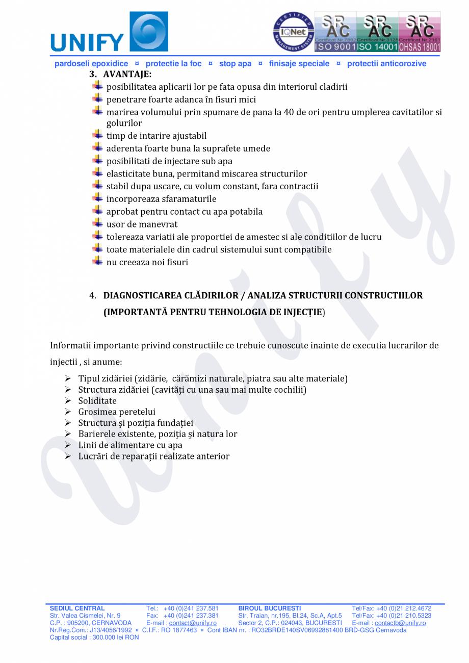Pagina 2 - Injectii cu spuma si rasina poliuretanica WEBAC Catalog, brosura Romana in injectarea de ...