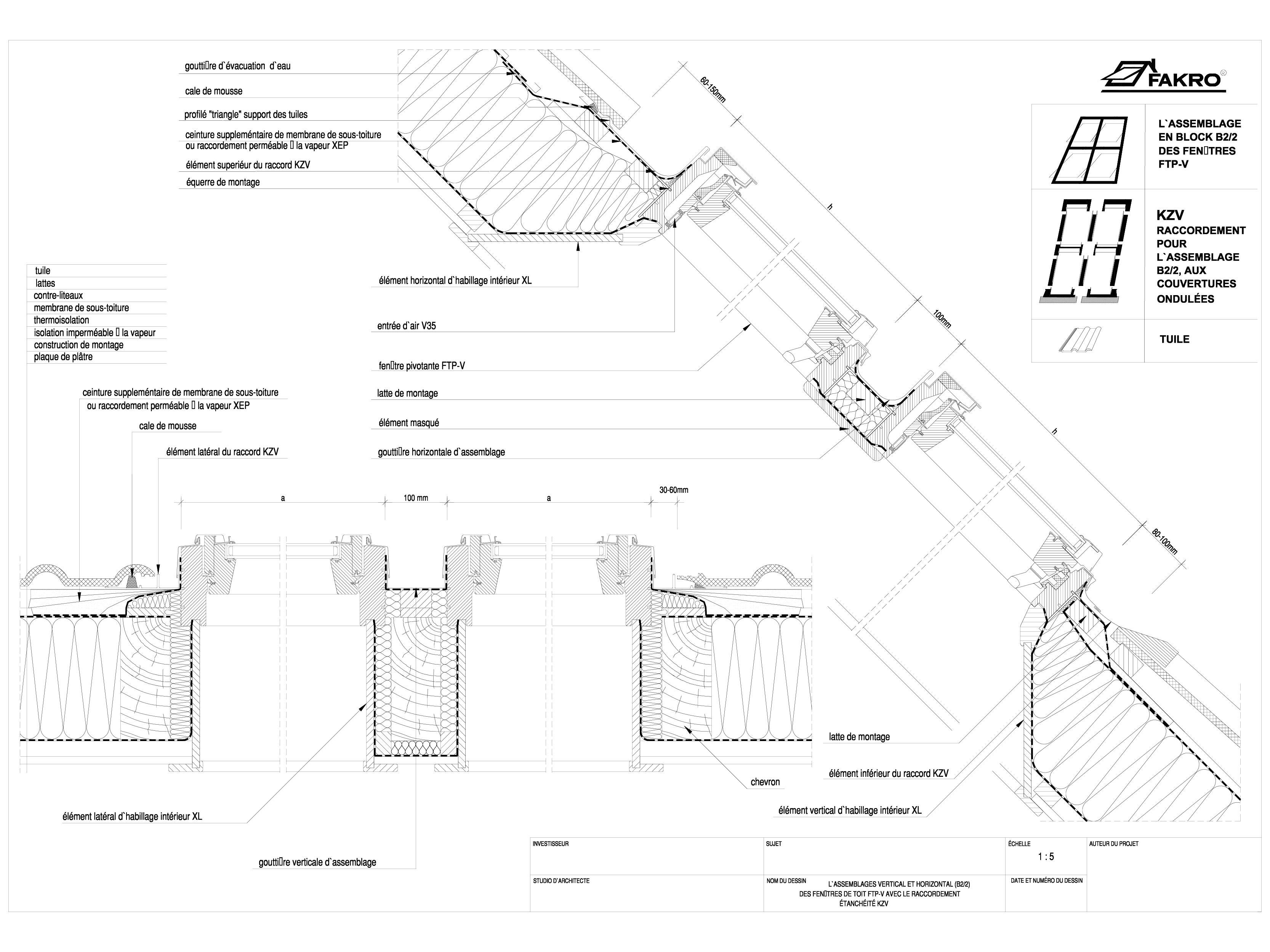 Pagina 1 - CAD-DWG Ansamblu in bloc B2/2 de ferestre cu racord KZV FAKRO Detaliu de produs