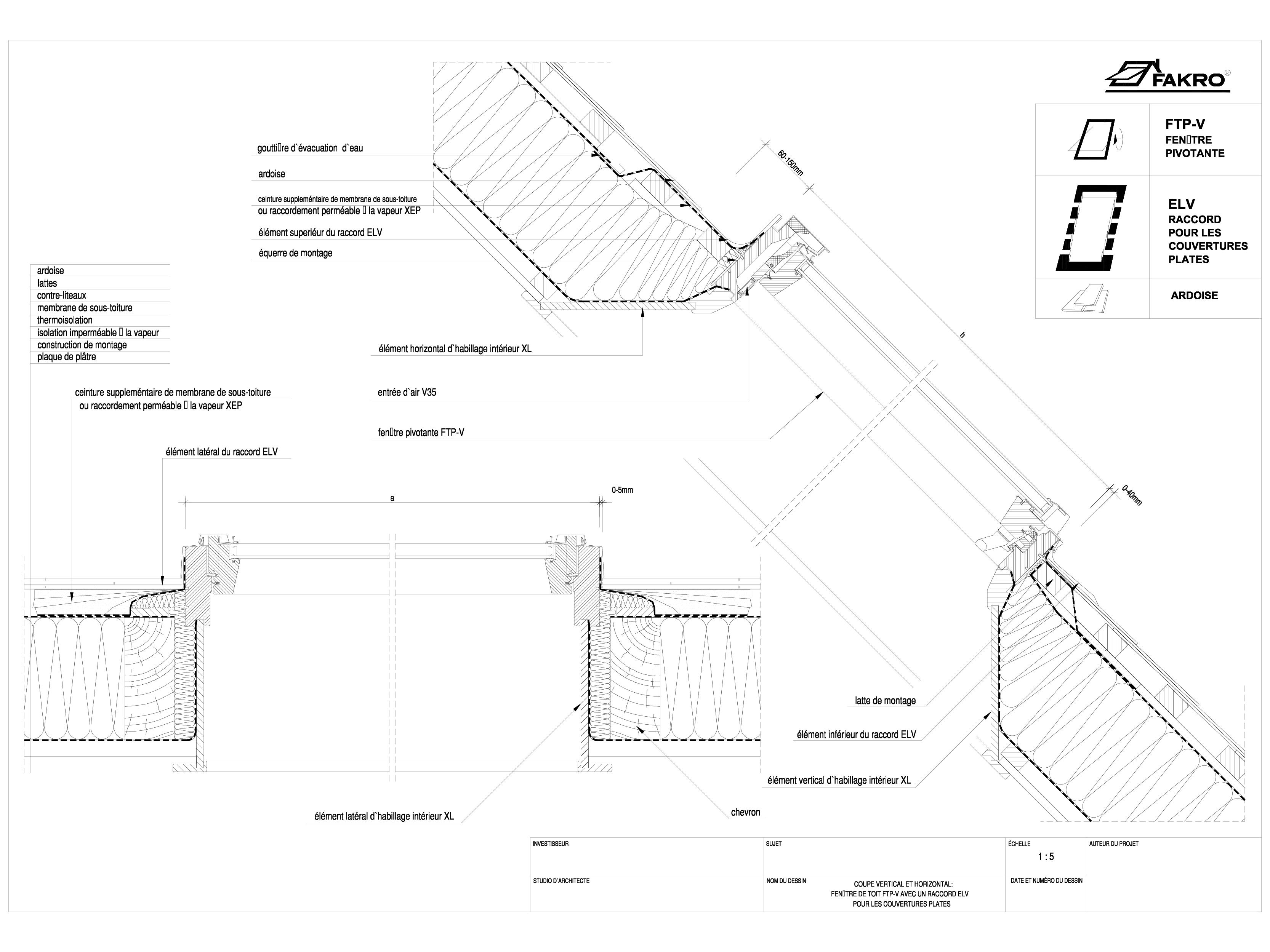 Pagina 1 - CAD-DWG Ferestre cu articulare mediana FAKRO Detaliu de produs