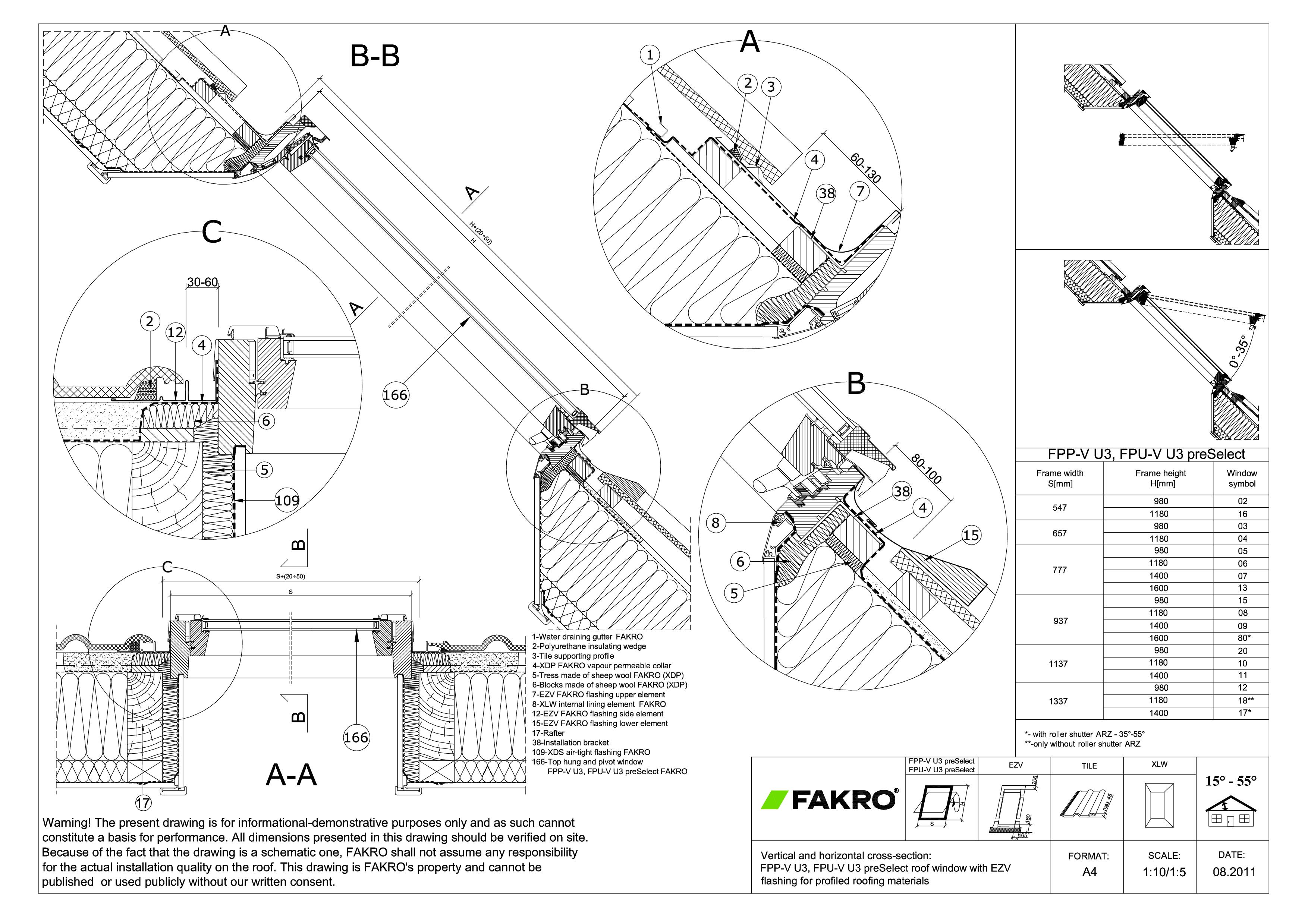 Pagina 1 - CAD-PDF Fereastra de mansarda cu dubla articulare FAKRO Detaliu de produs