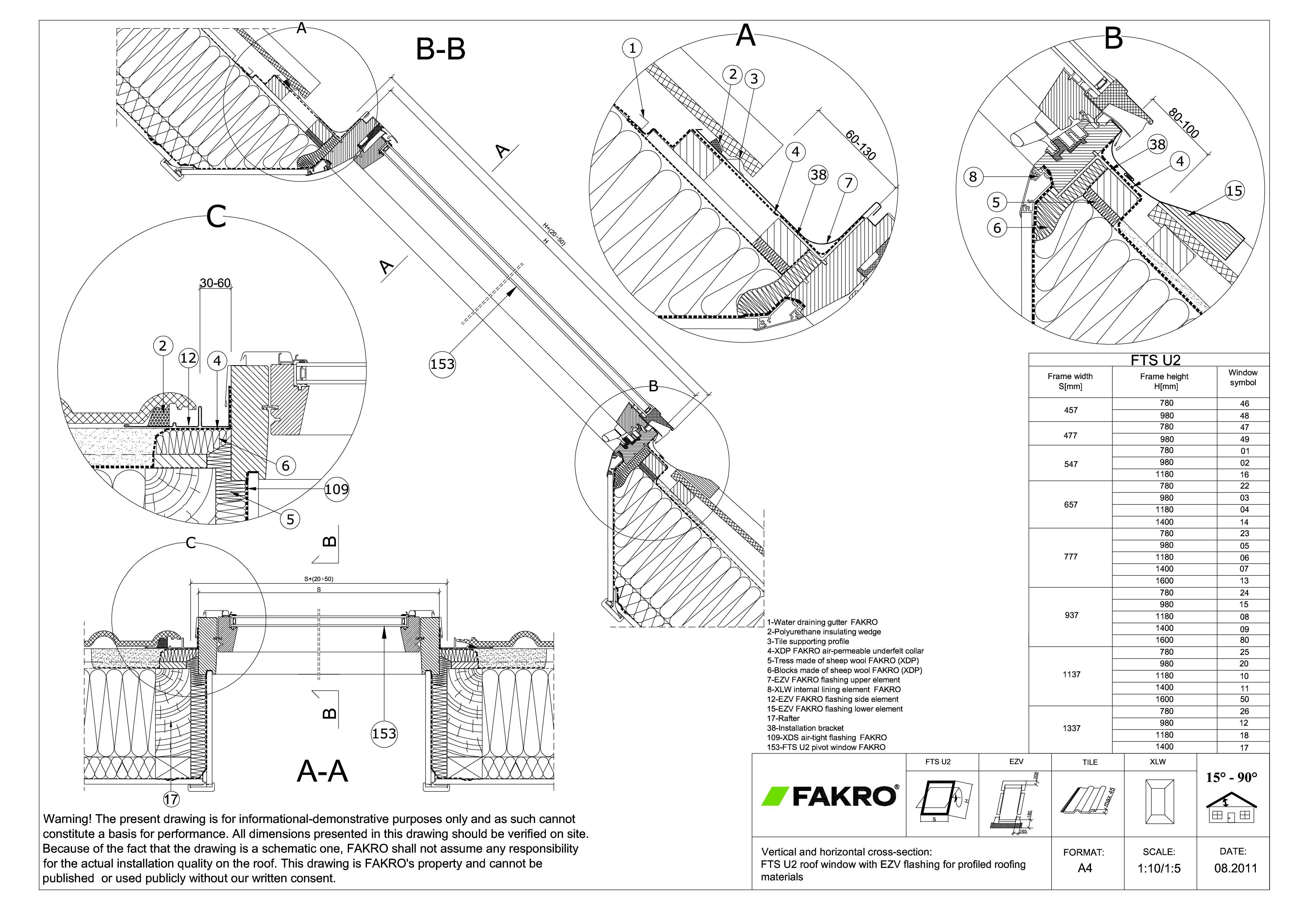 Pagina 1 - CAD-PDF Fereastra de mansarda standard cu articulare mediana FAKRO Detaliu de produs