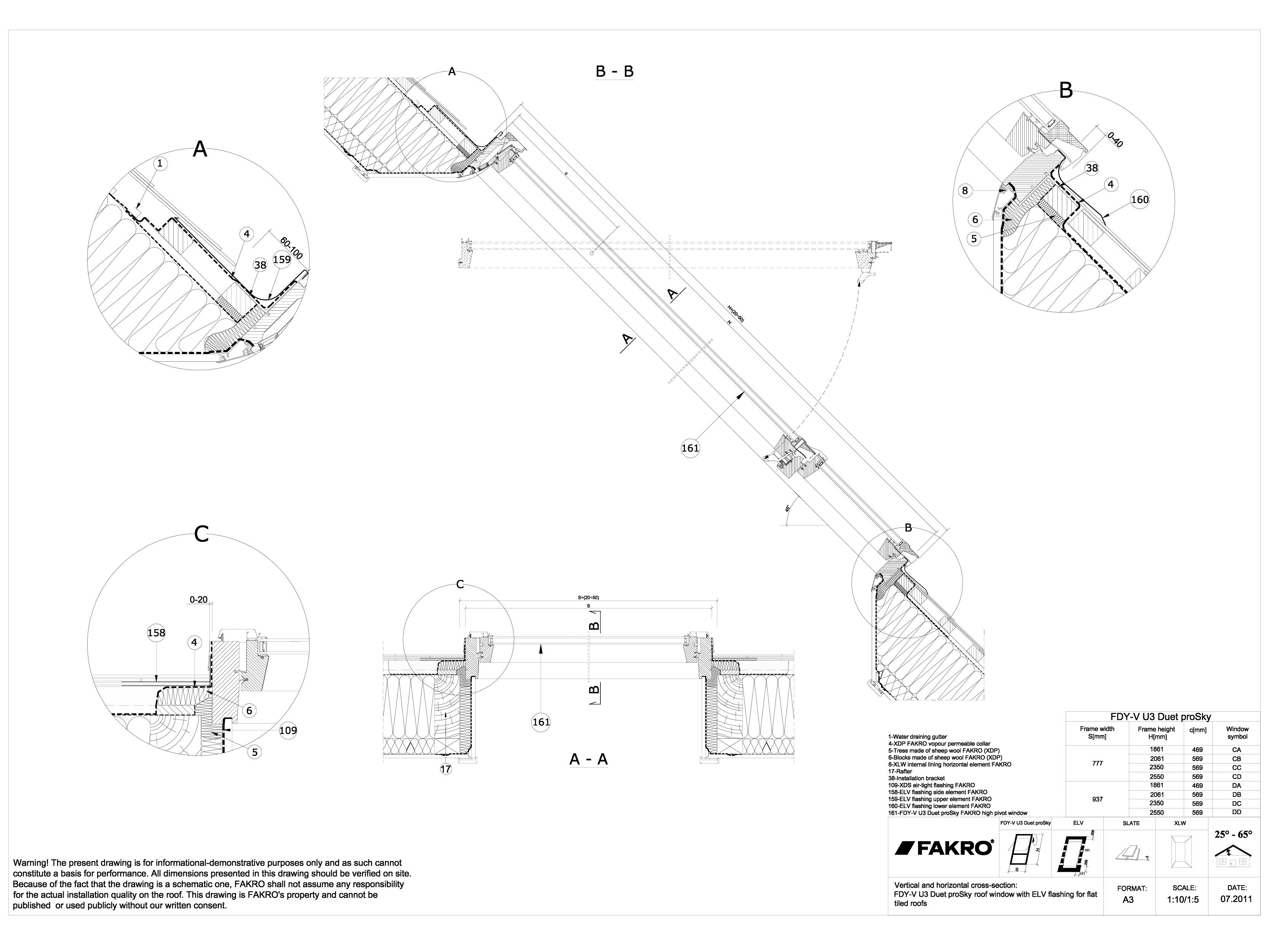 Pagina 1 - CAD-DWG Ferestre cu articulare supramediana cu racord ELV  FAKRO Detaliu de produs