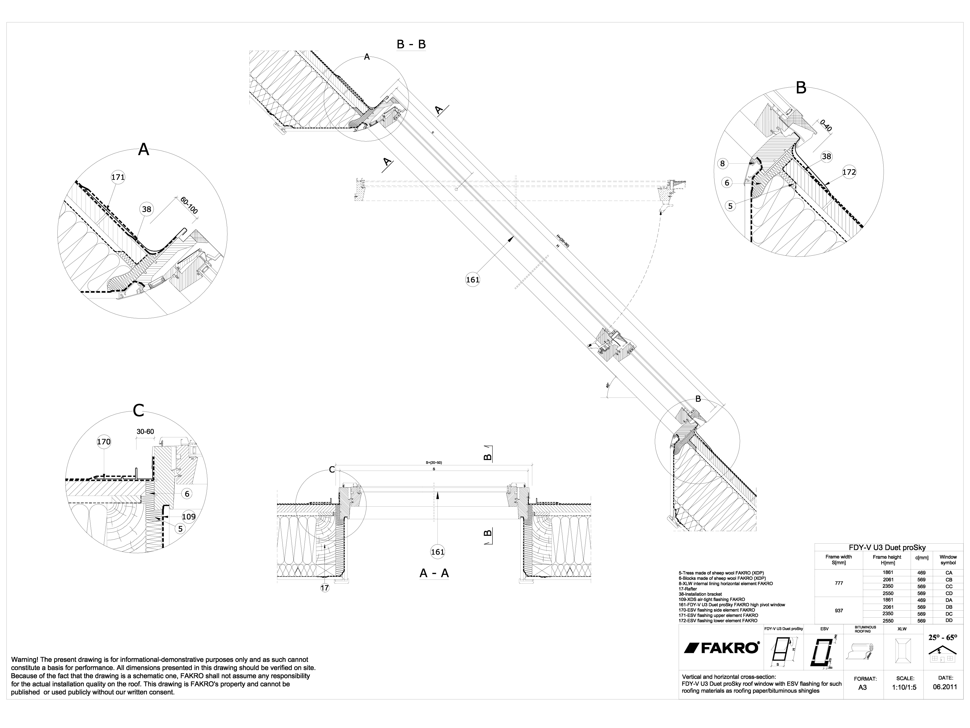 Pagina 1 - CAD-DWG Ferestre cu articulare supramediana cu racord ESV FAKRO Detaliu de produs