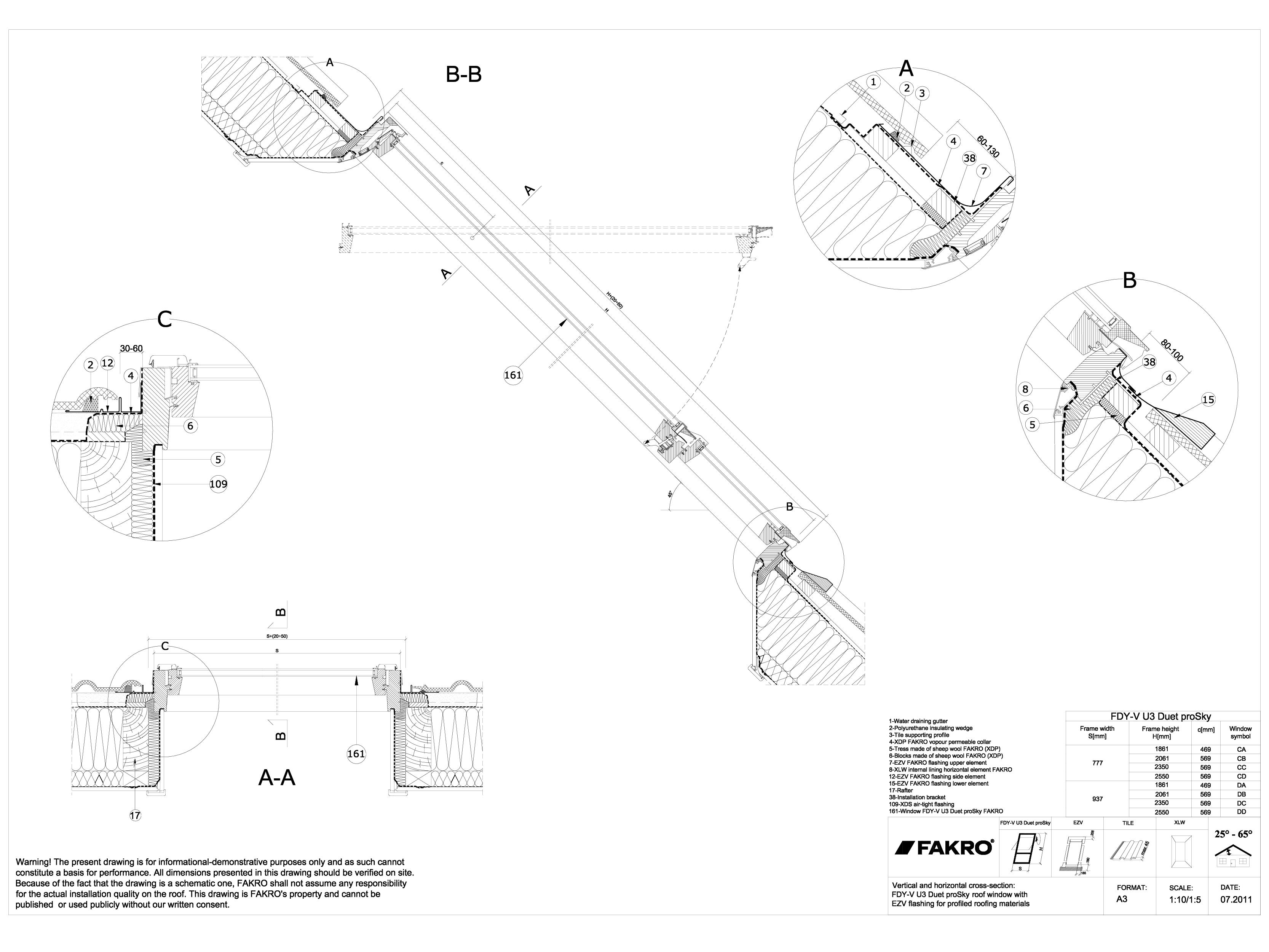 Pagina 1 - CAD-DWG Ferestre cu articulare supramediana cu racord EZV FAKRO Detaliu de produs