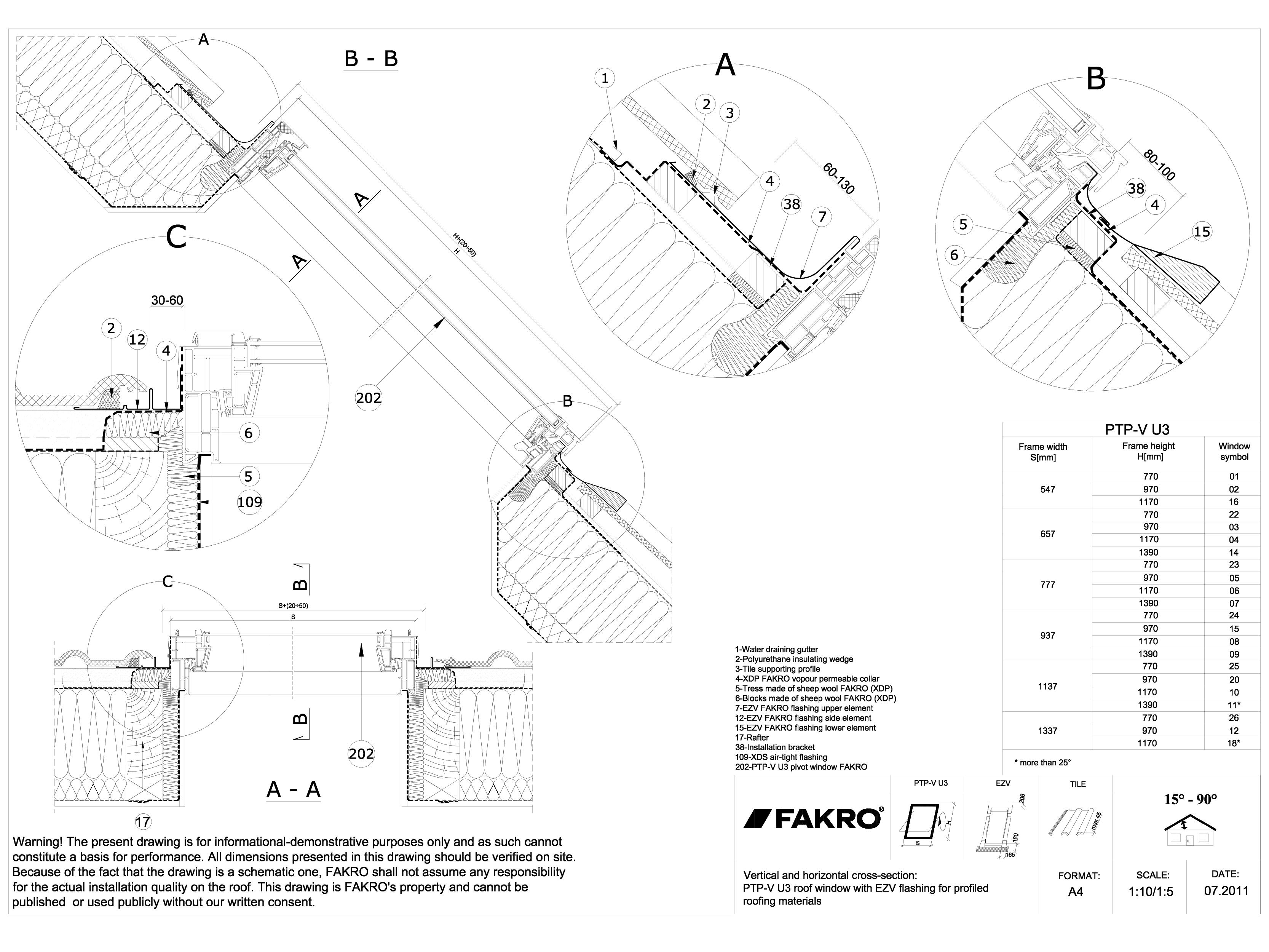 Pagina 1 - CAD-DWG Ferestre de mansarda din PVC cu racord EZV FAKRO Detaliu de produs