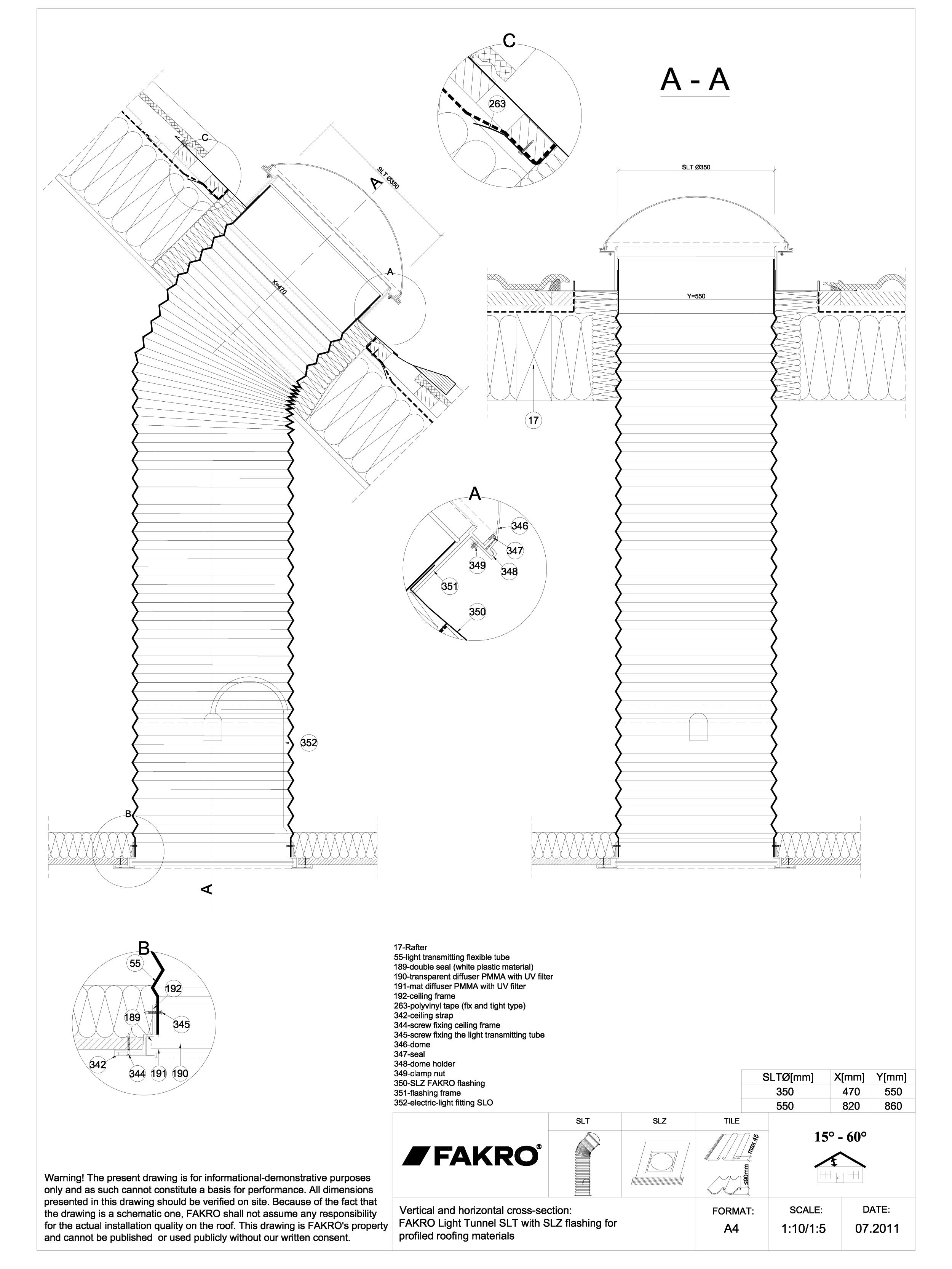 Pagina 1 - CAD-DWG Tunelul de lumină cu tub flexibil cu racord SLZ FAKRO Detaliu de produs