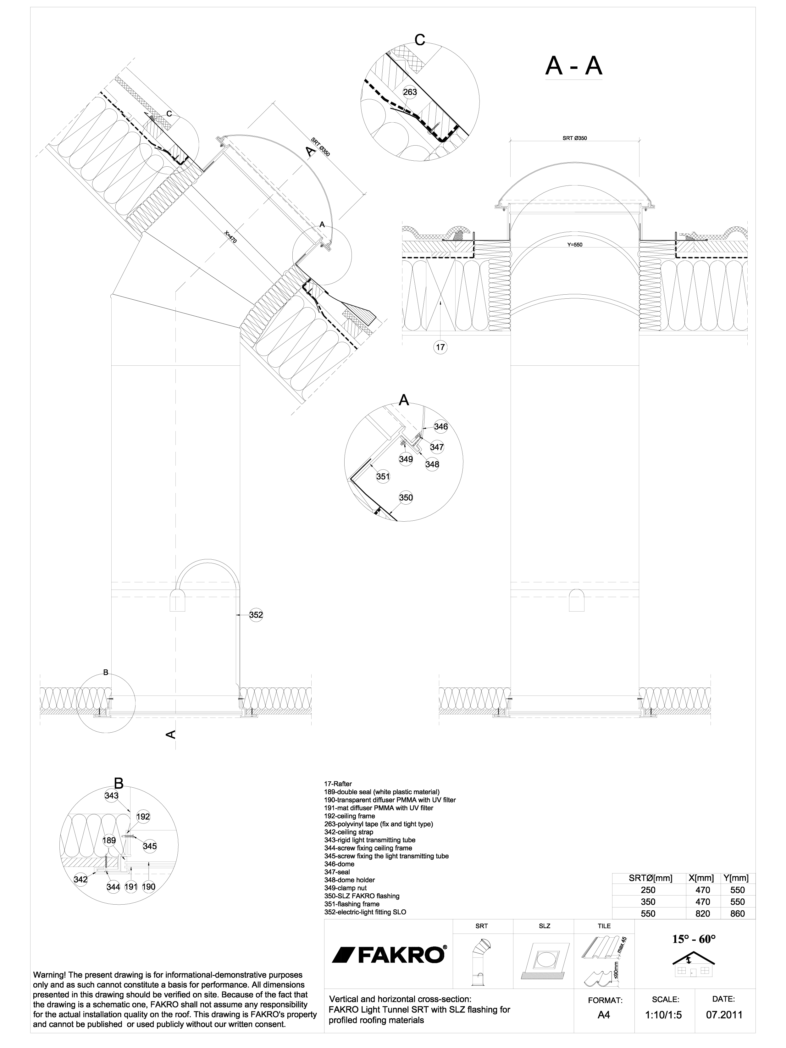 Pagina 1 - CAD-DWG Tunelul de lumina cu tub rigid cu racord SLZ FAKRO Detaliu de produs