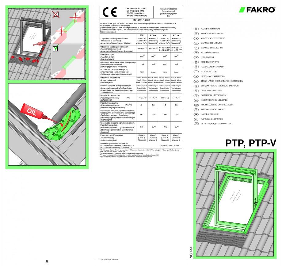 Pagina 1 - Ferestre de mansarda cu articulare mediana FAKRO PTP-V Instructiuni montaj, utilizare...