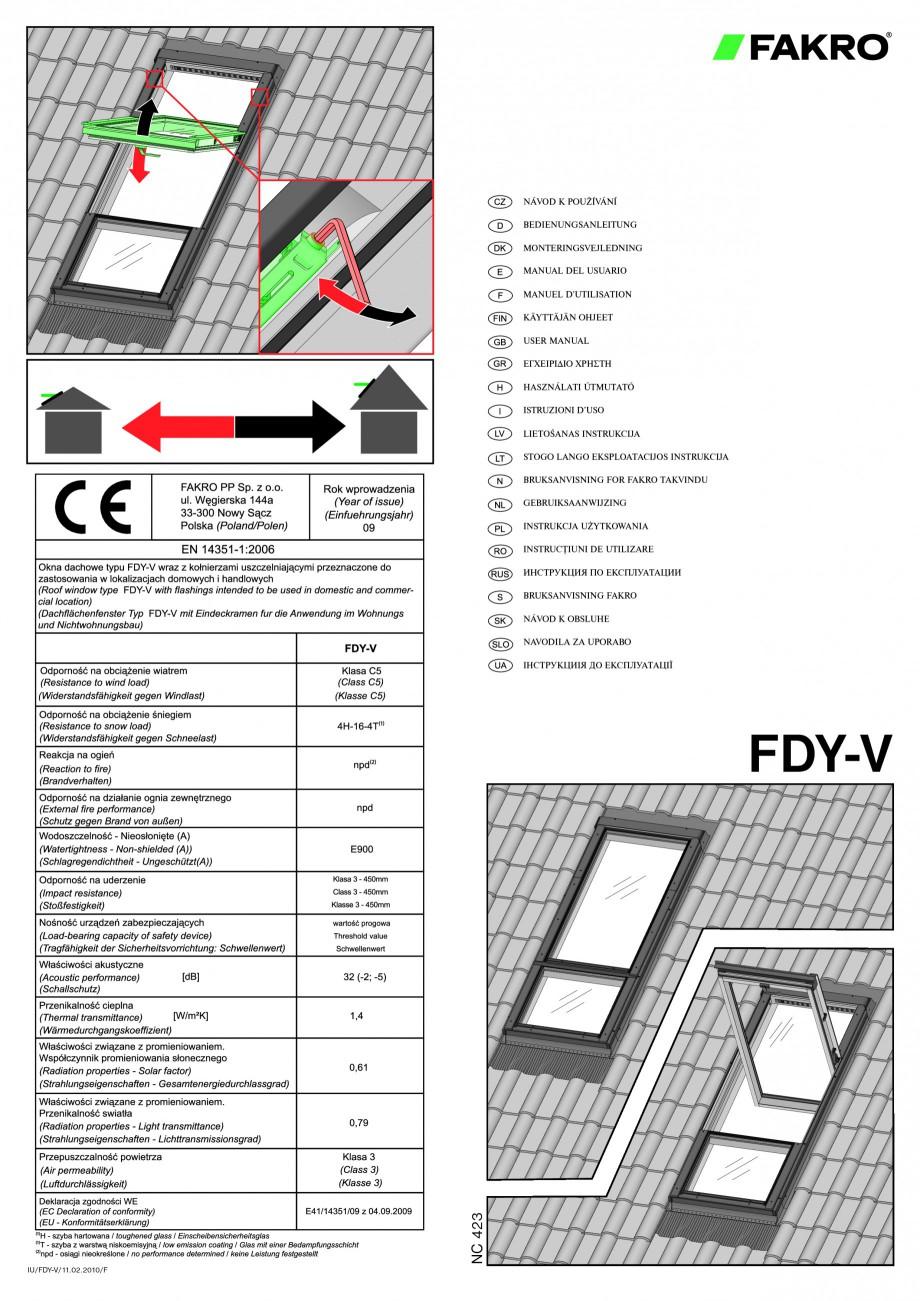 Pagina 1 - Ferestre de mansarda superinalte FAKRO FDY-V Duet proSky Instructiuni montaj, utilizare...
