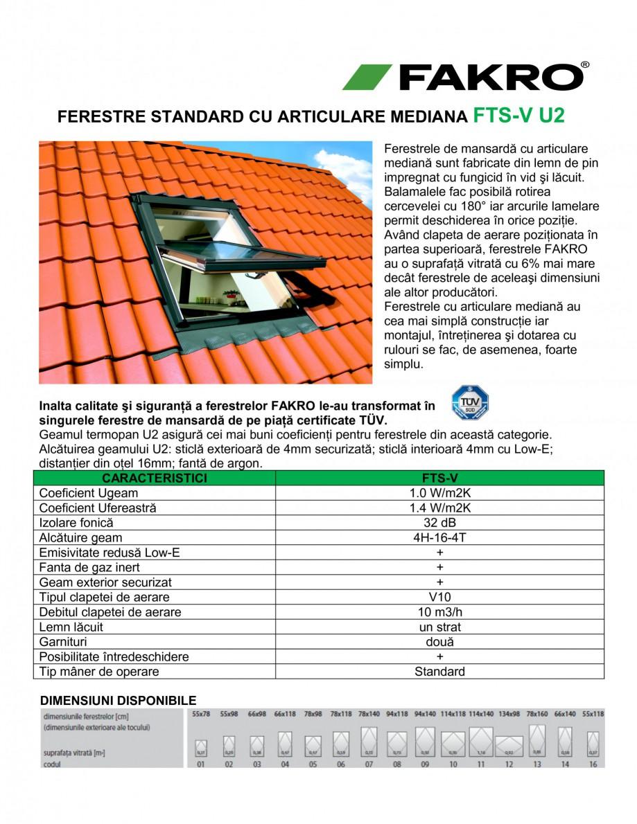 Pagina 1 - Fereaste cu articulare mediana FAKRO FTS-V U2 Fisa tehnica Romana FERESTRE STANDARD CU...